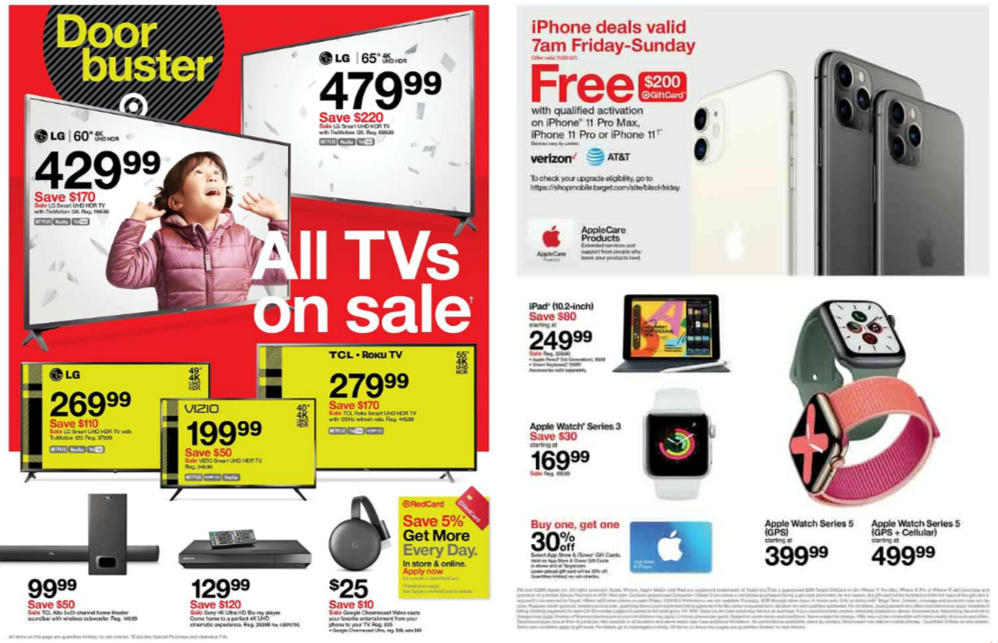 Target - promo starting from 11/28/19 to 11/30/19 - page 3. The promotion includes tcl, iphone, ipad