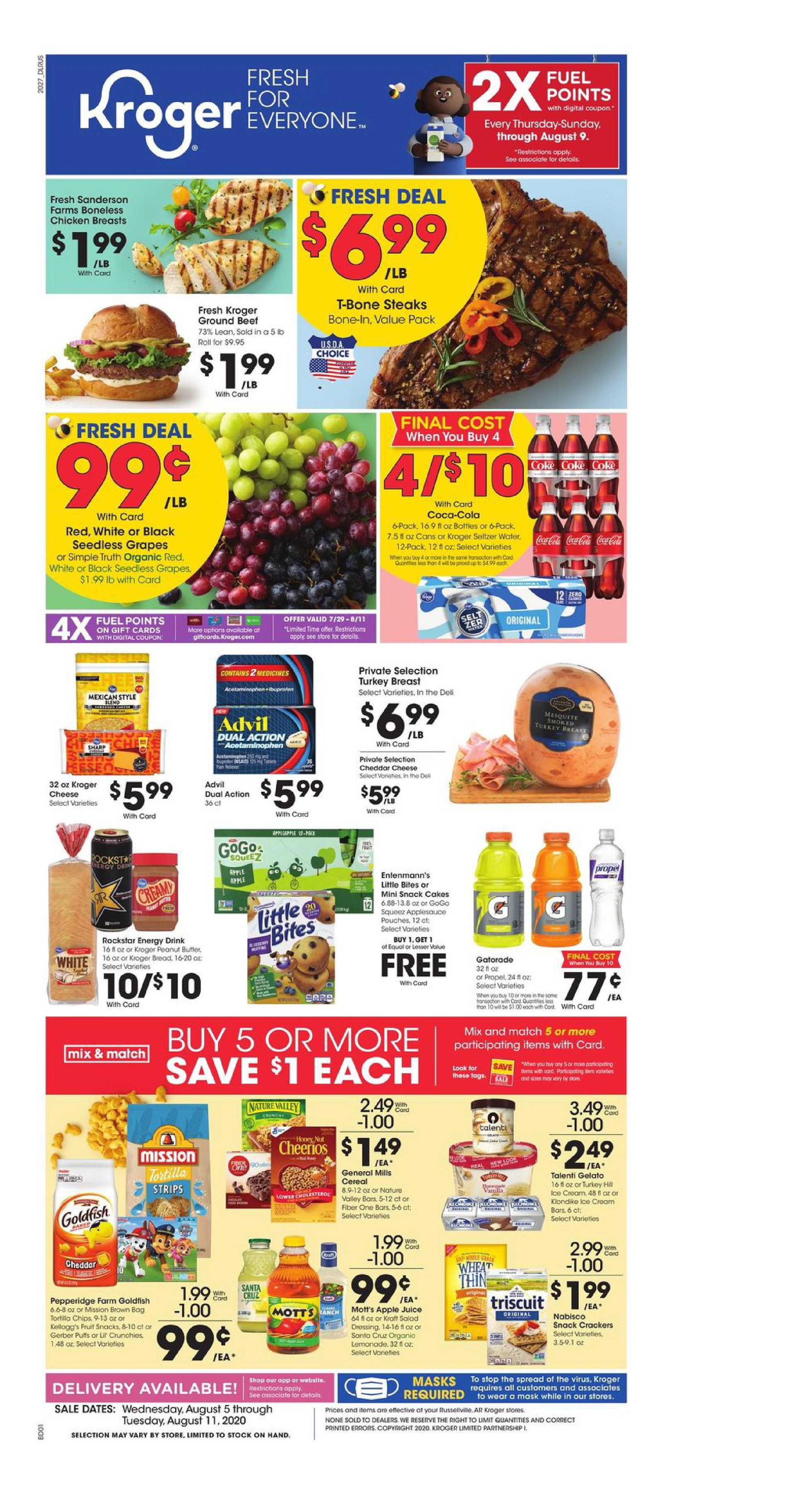 Kroger - deals are valid from 08/05/20 to 08/11/20 - page 1.