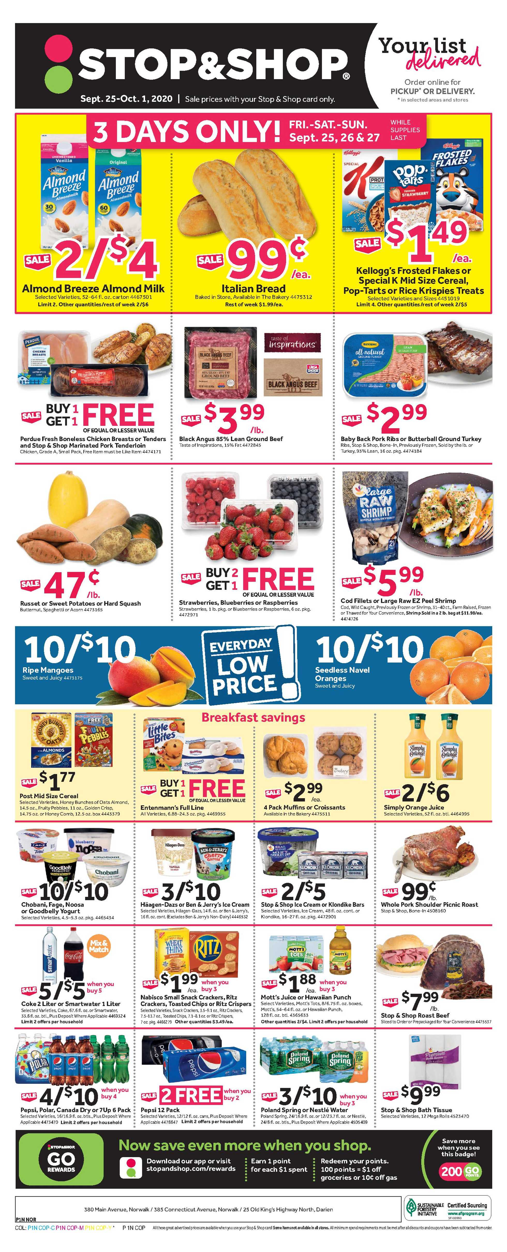Stop & Shop - deals are valid from 09/25/20 to 10/01/20 - page 1.