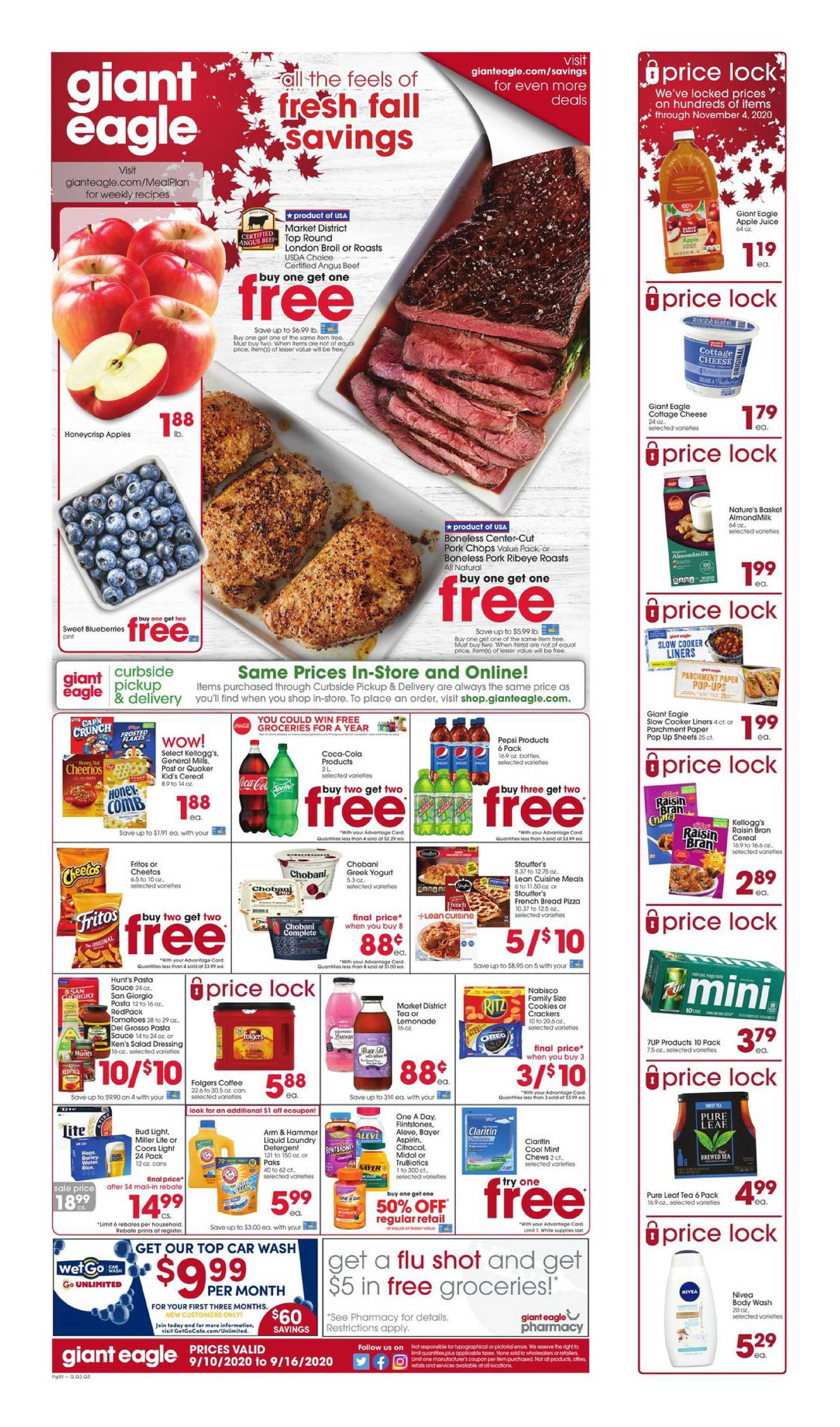 Giant Eagle - deals are valid from 09/10/20 to 09/16/20 - page 1.