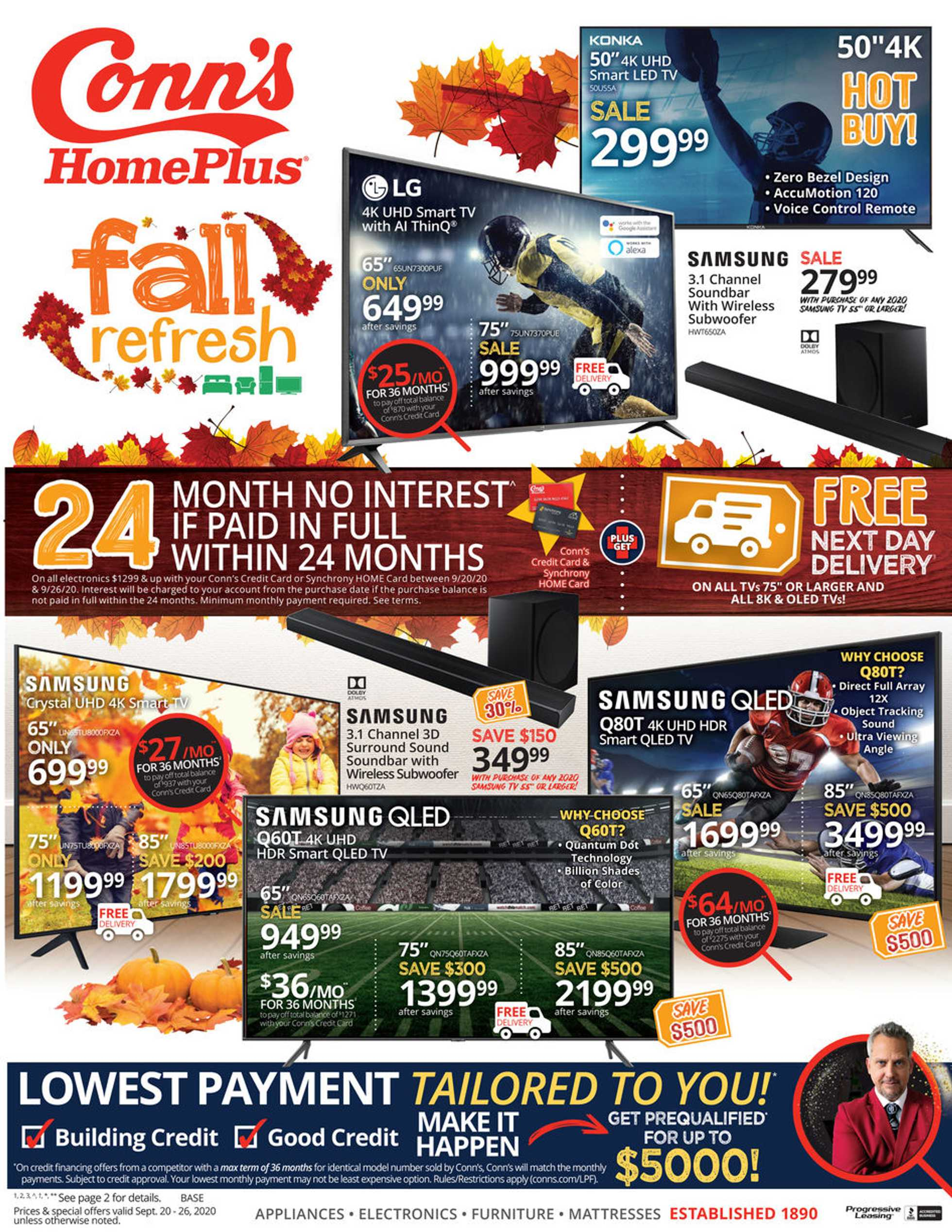 Conn's HomePlus - deals are valid from 09/20/20 to 09/26/20 - page 1.