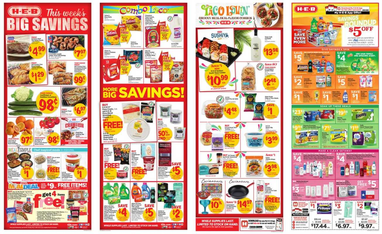 H-E-B - deals are valid from 04/28/21 to 05/04/21 - page 1.