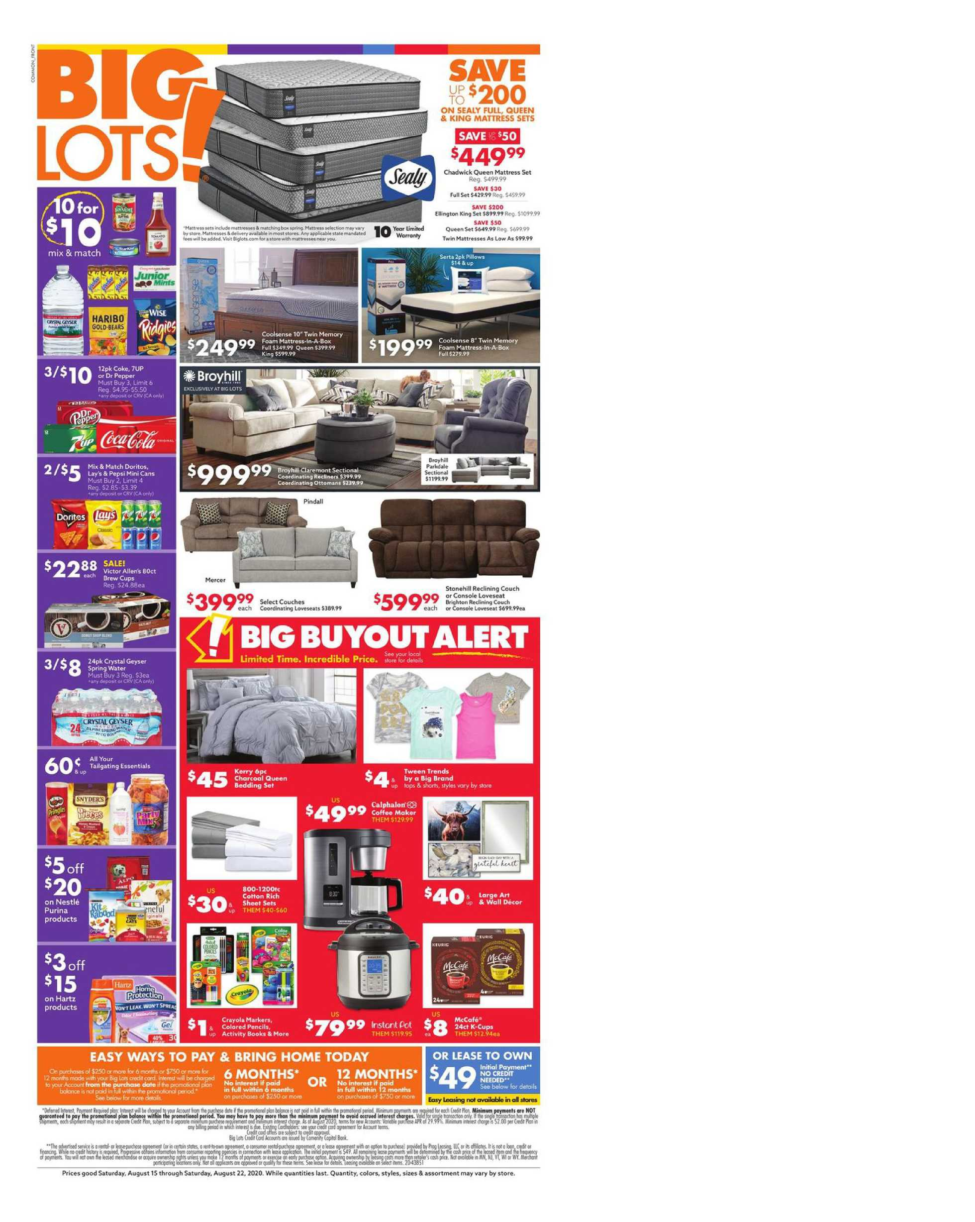 Big Lots - deals are valid from 08/15/20 to 08/22/20 - page 1.