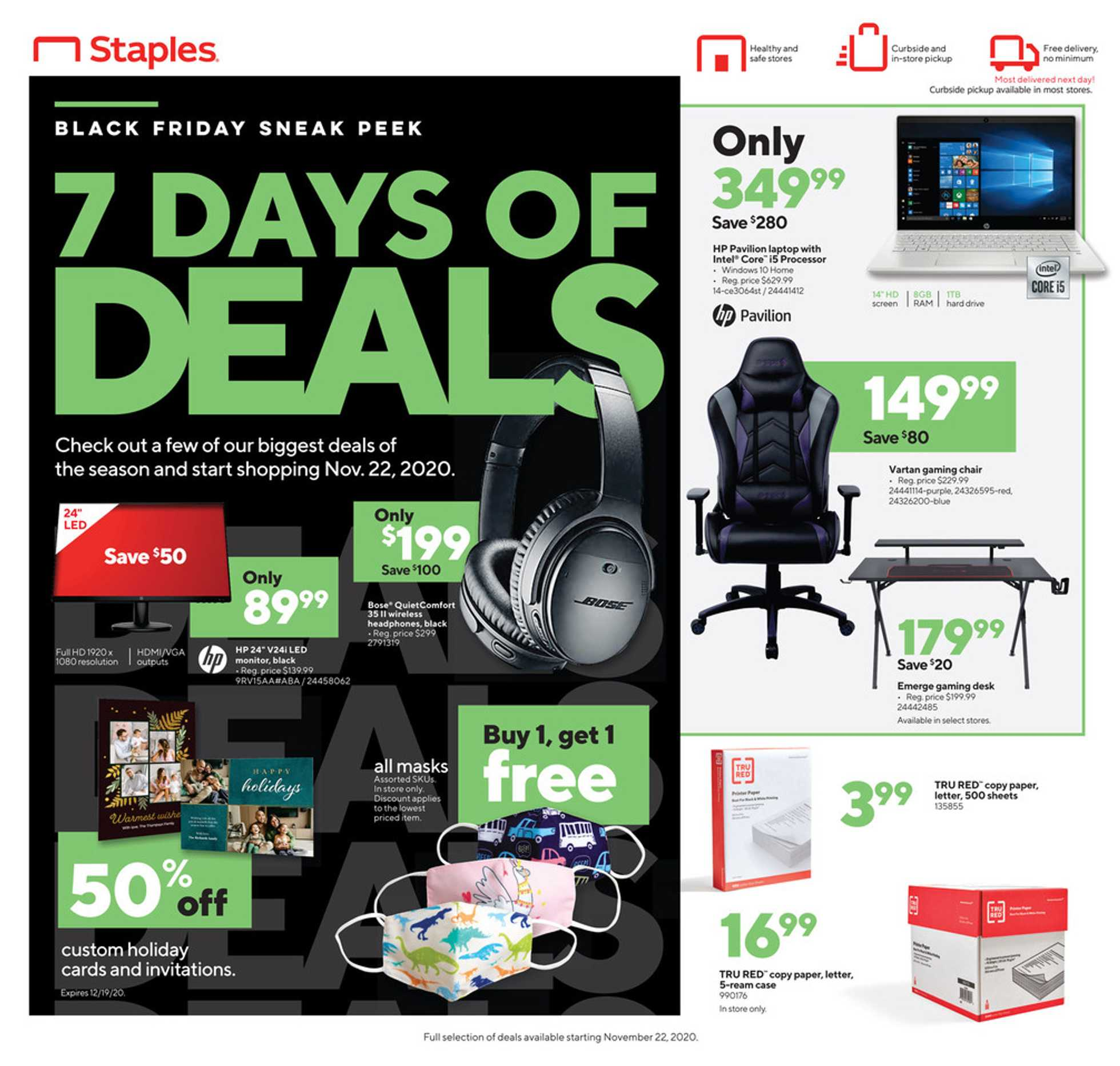 Staples - deals are valid from 11/22/20 to 11/28/20 - page 1.