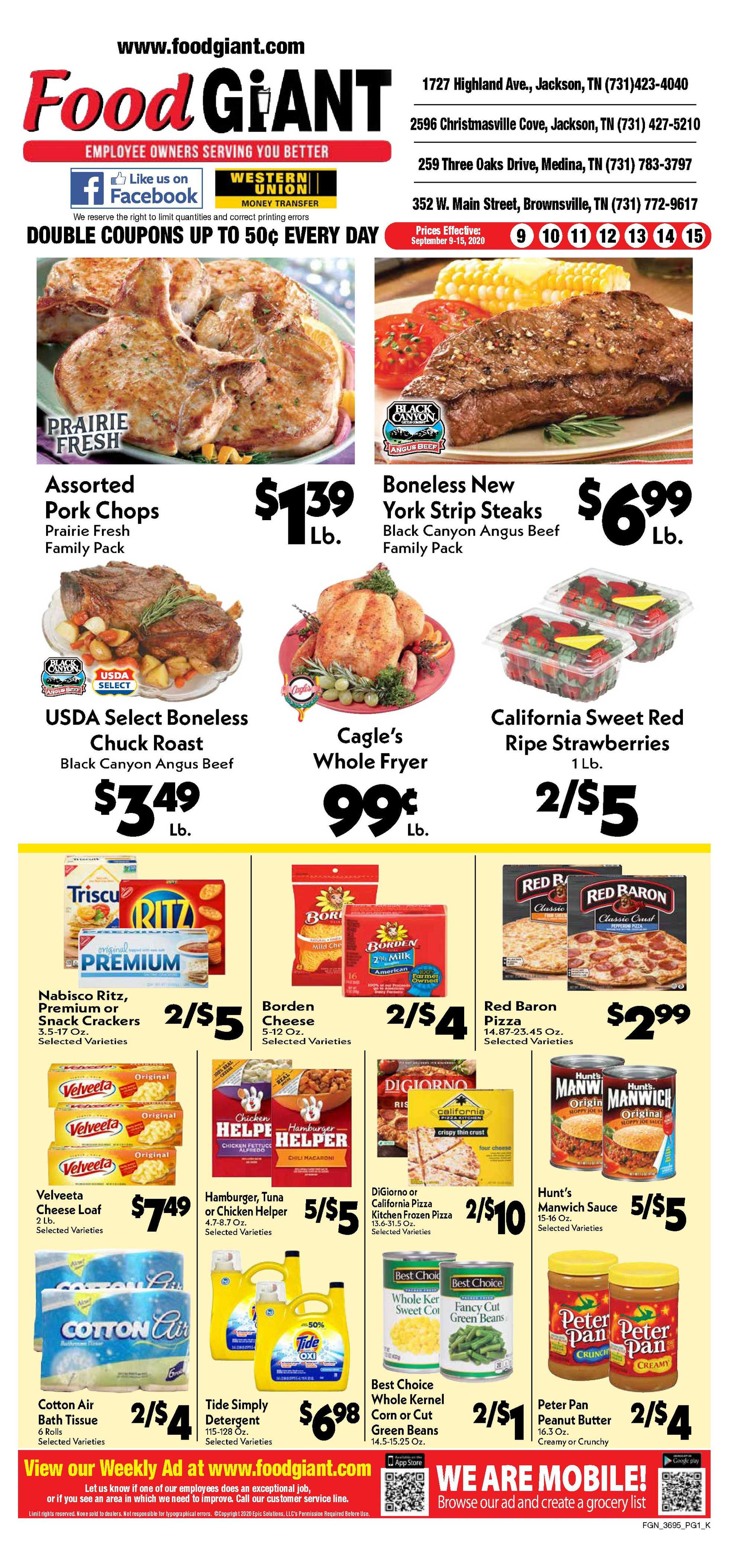 Food Giant - deals are valid from 09/09/20 to 09/15/20 - page 1.