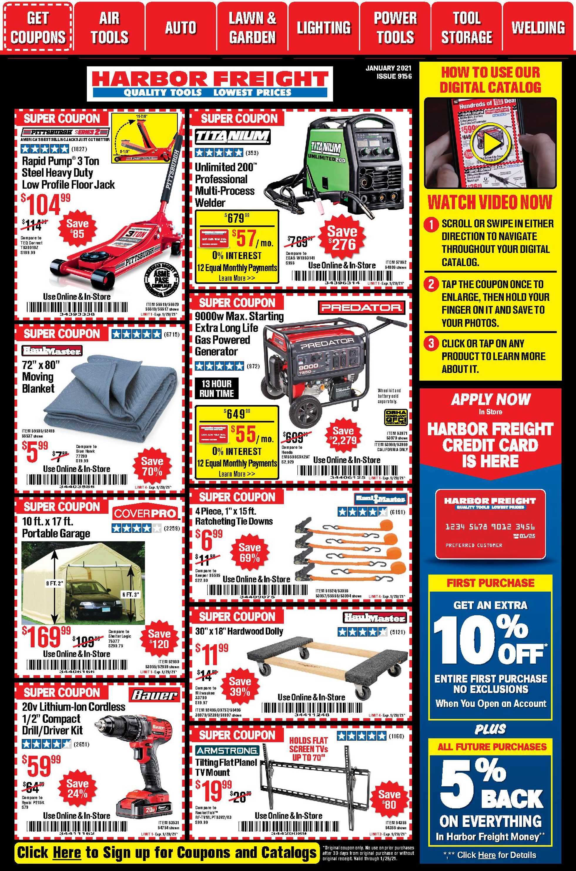 Harbor Freight Tools - deals are valid from 01/01/21 to 01/31/21 - page 1.