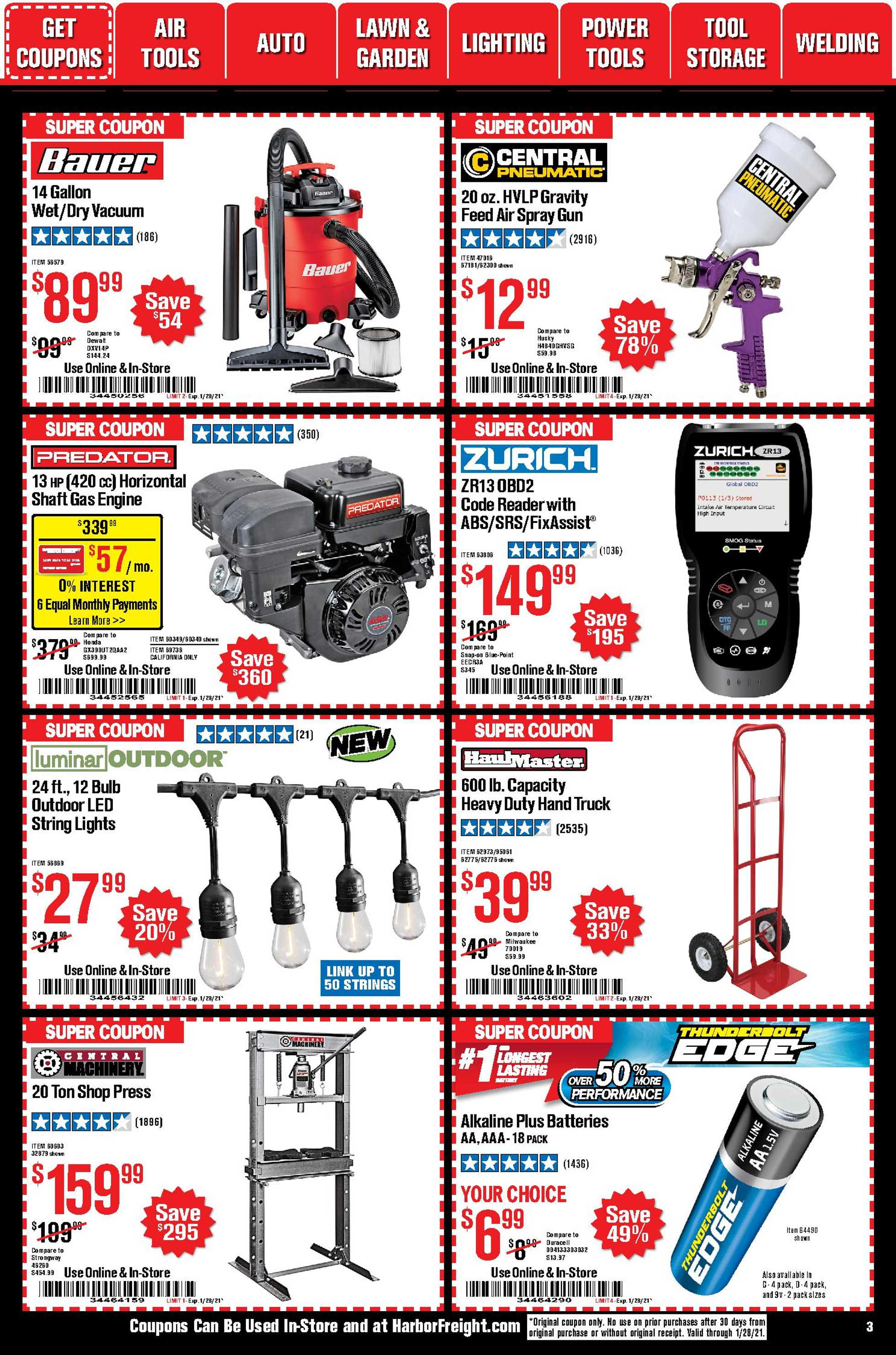Harbor Freight Tools - deals are valid from 01/01/21 to 01/31/21 - page 3.