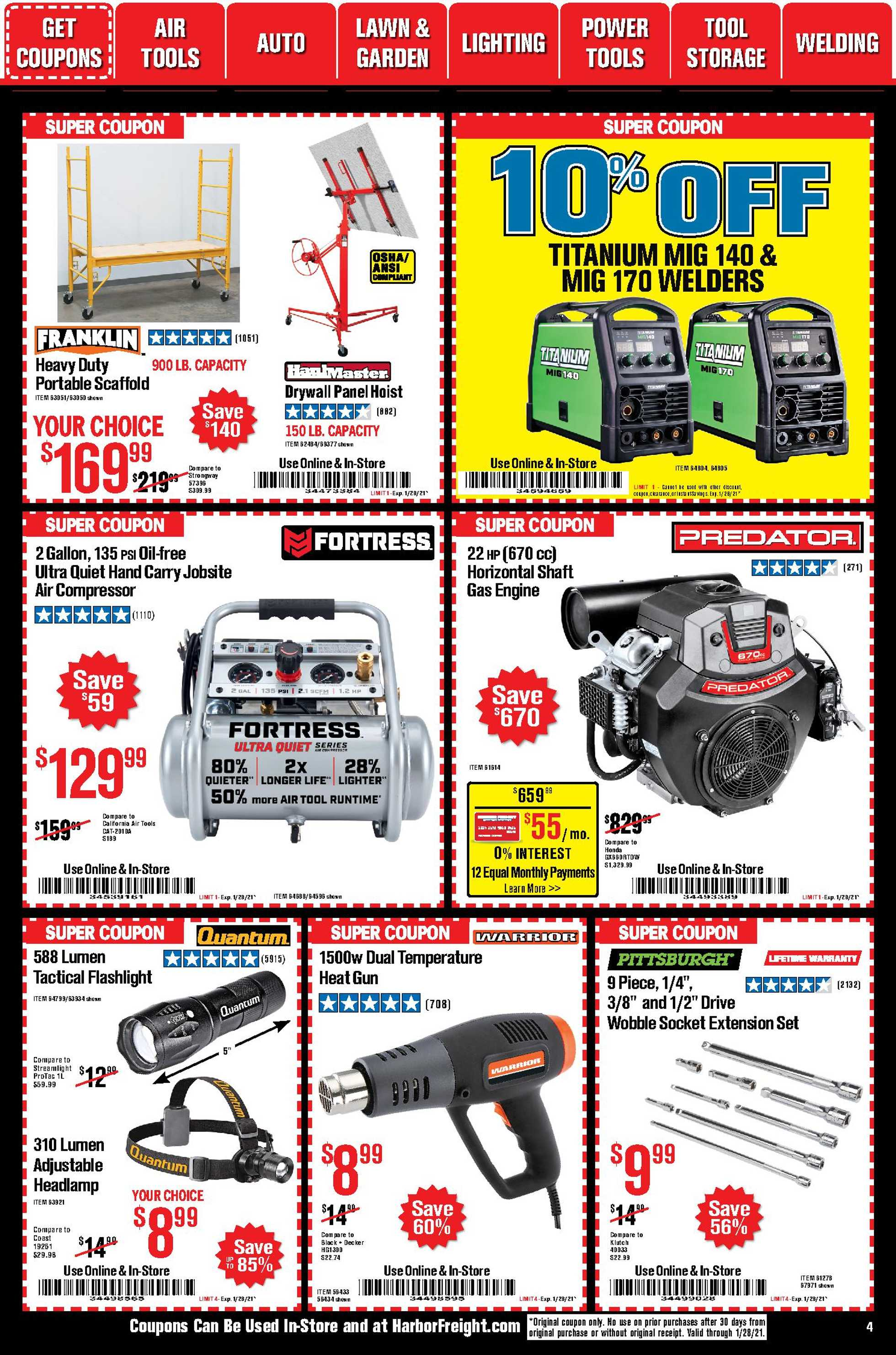 Harbor Freight Tools - deals are valid from 01/01/21 to 01/31/21 - page 4.