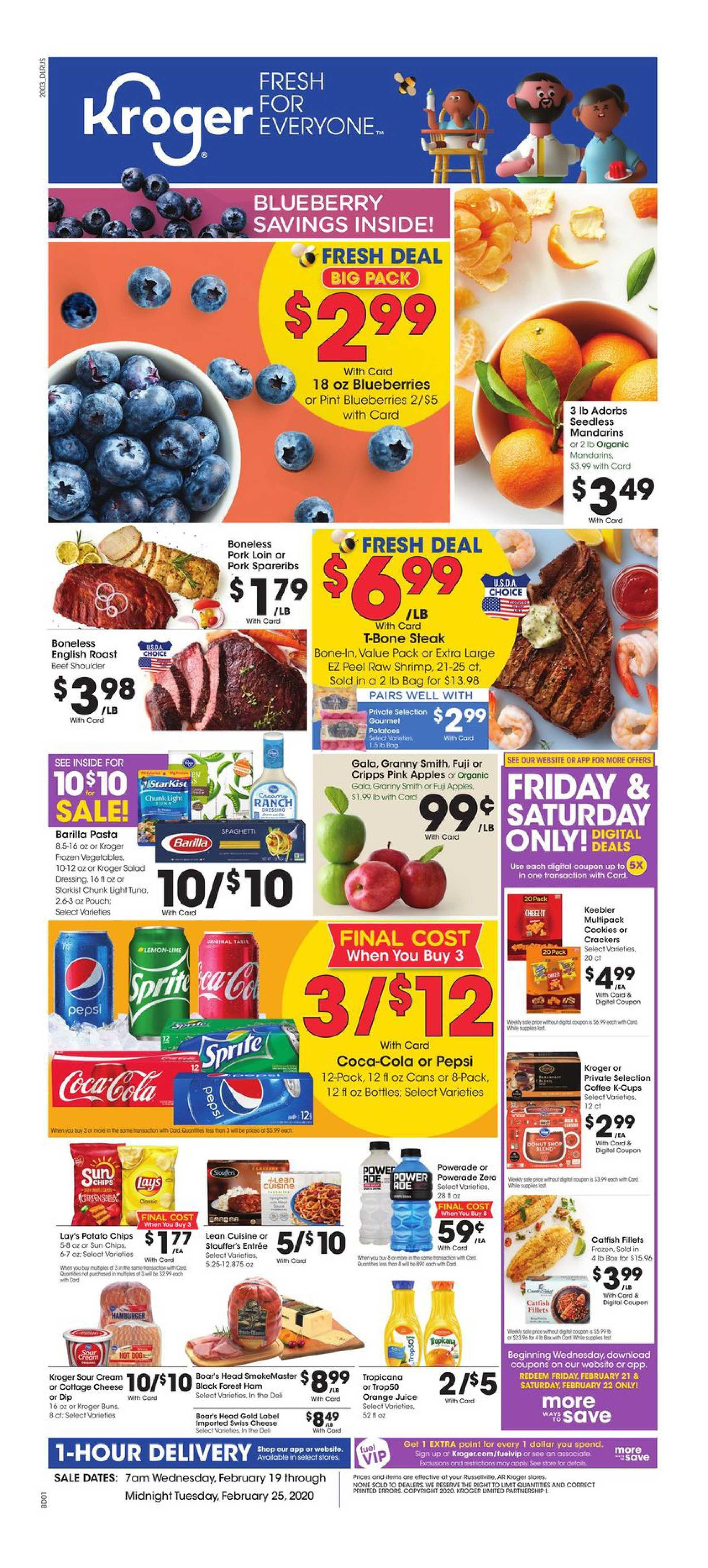 Kroger - deals are valid from 02/19/20 to 02/25/20 - page 1.