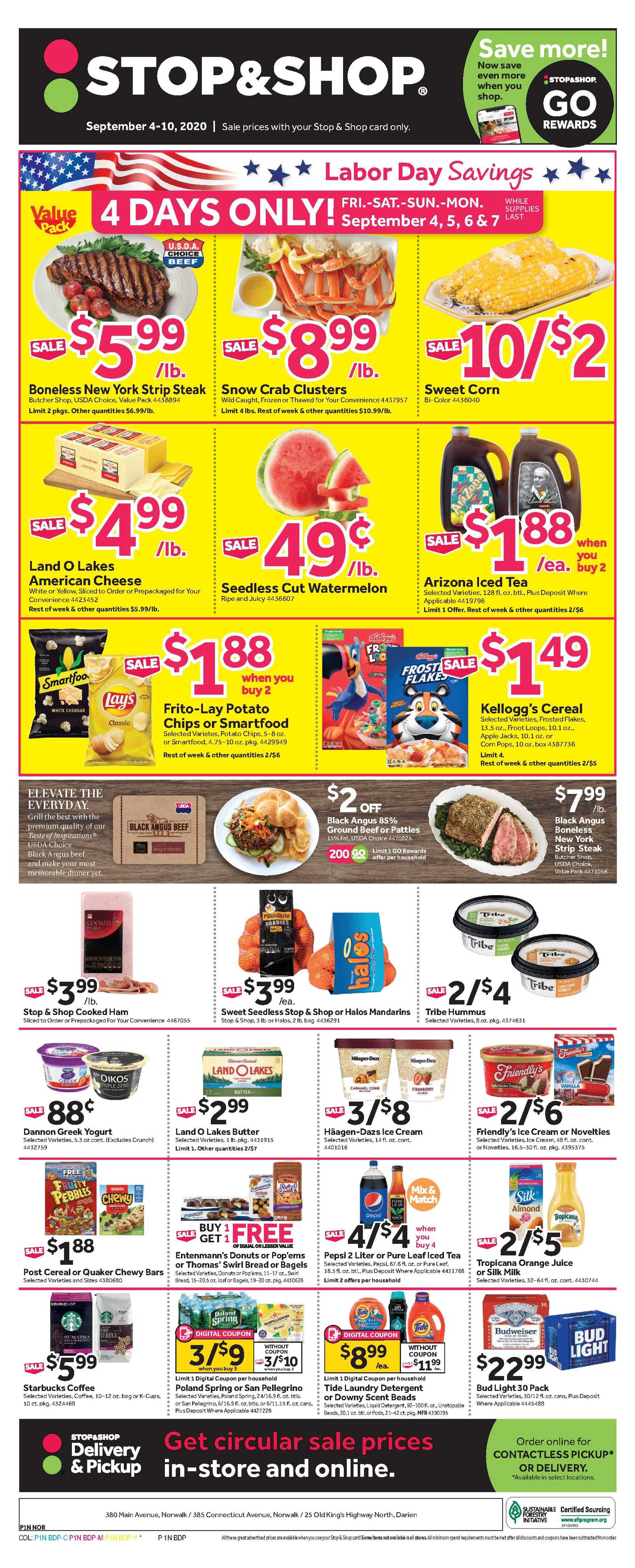 Stop & Shop - deals are valid from 09/04/20 to 09/10/20 - page 1.