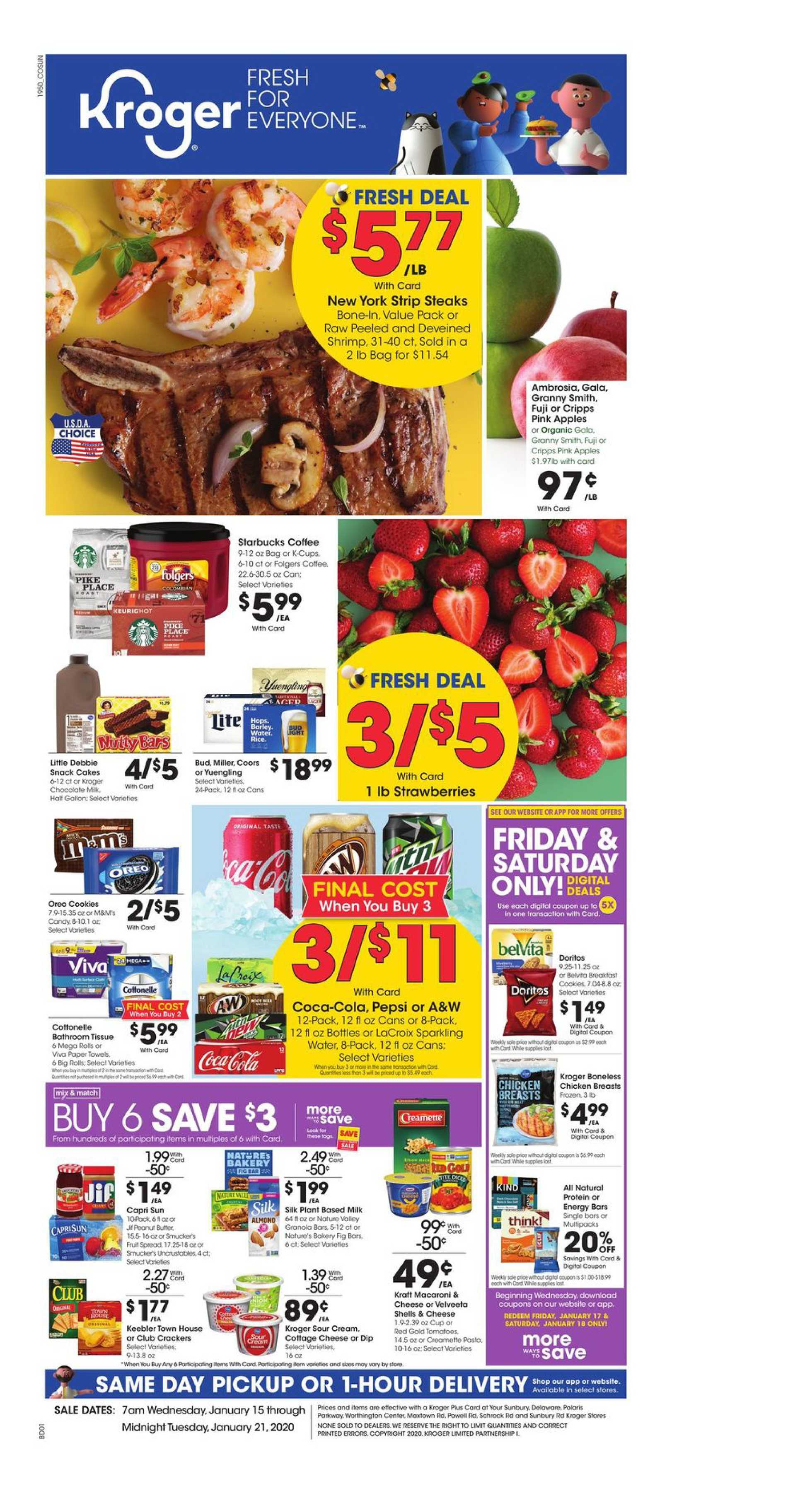 Kroger - promo starting from 01/15/20 to 01/21/20 - page 1.