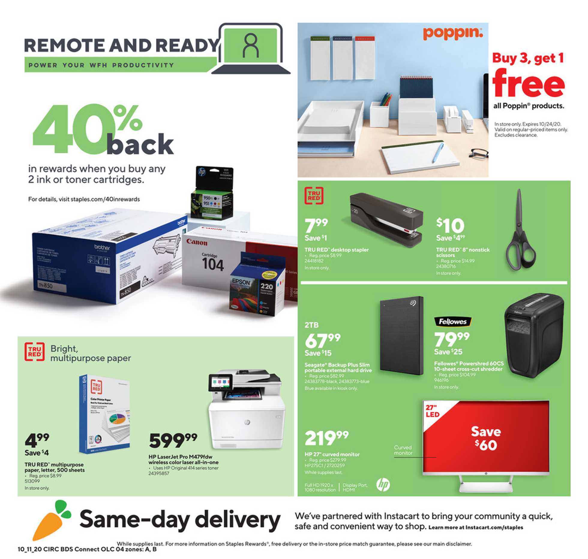 Staples - deals are valid from 10/11/20 to 10/17/20 - page 4.