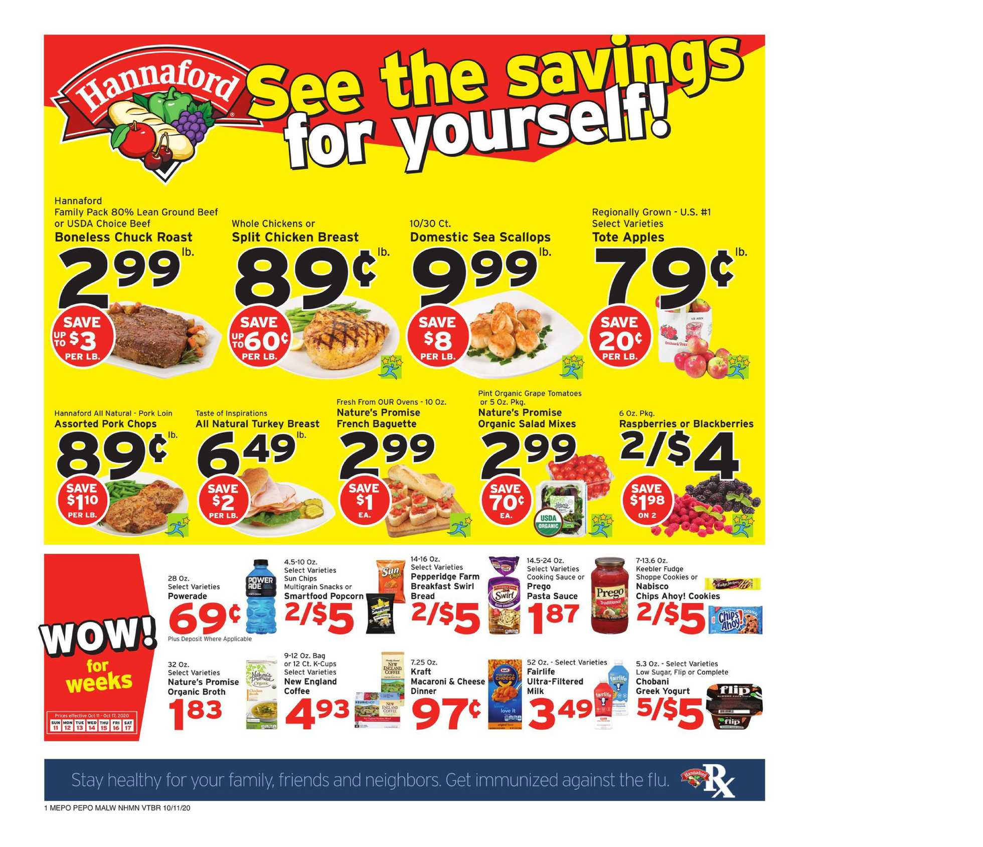 Hannaford - deals are valid from 10/11/20 to 10/17/20 - page 1.