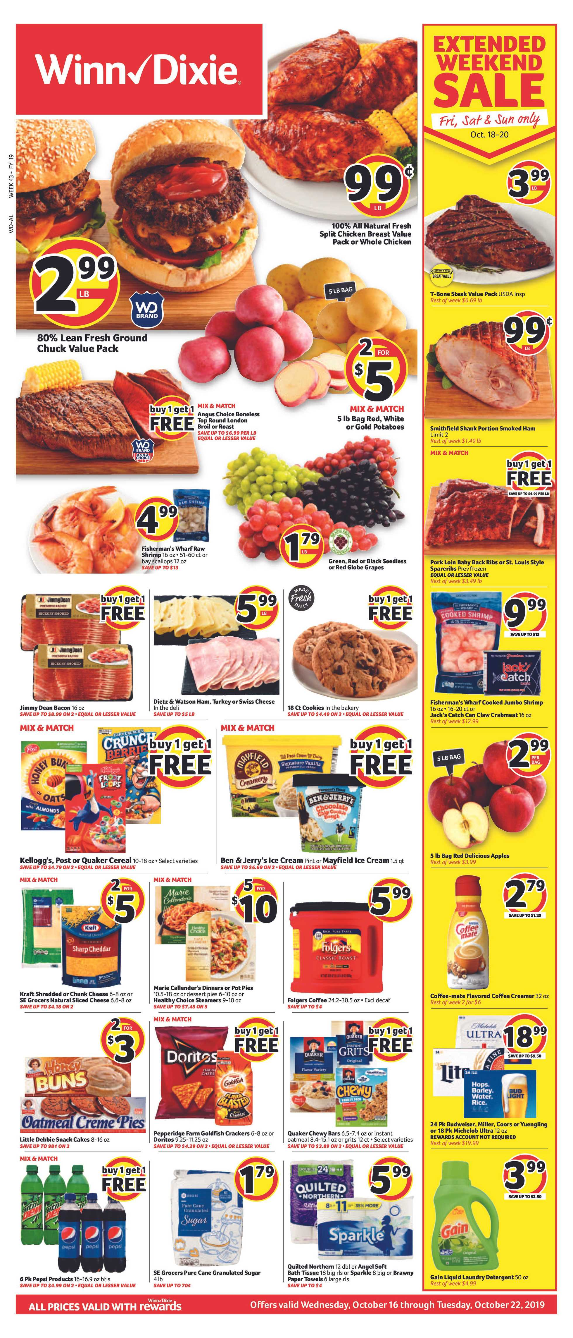 Winn Dixie - deals are valid from 10/16/19 to 10/22/19 - page 1.