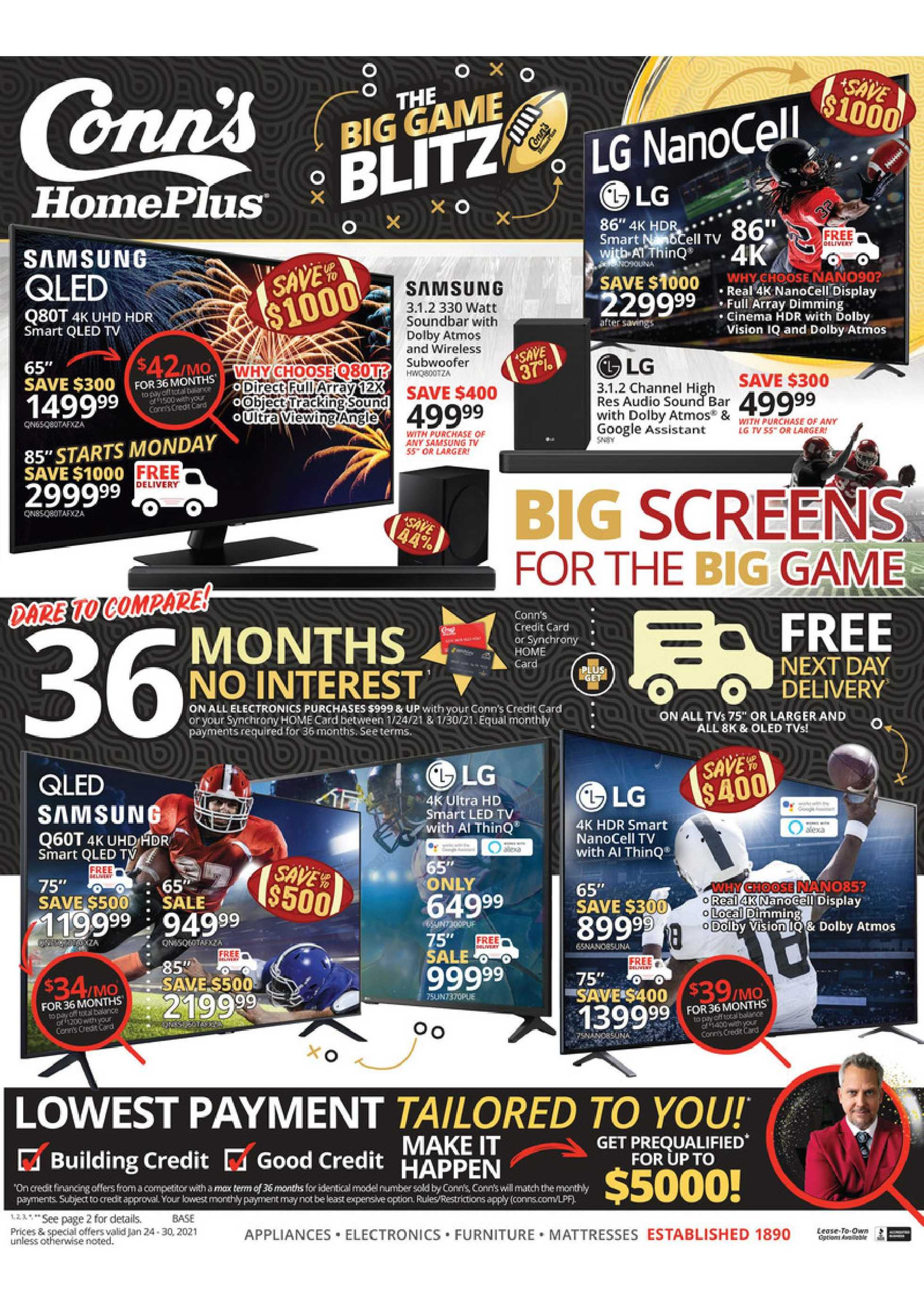 Conn's HomePlus - deals are valid from 01/24/21 to 01/30/21 - page 1.