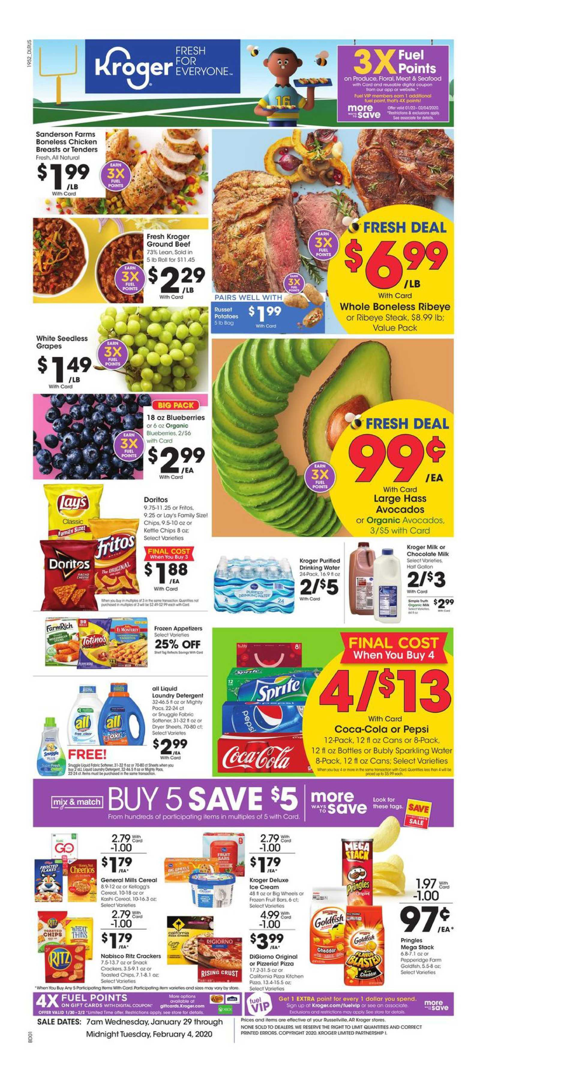 Kroger - deals are valid from 01/29/20 to 02/04/20 - page 1.