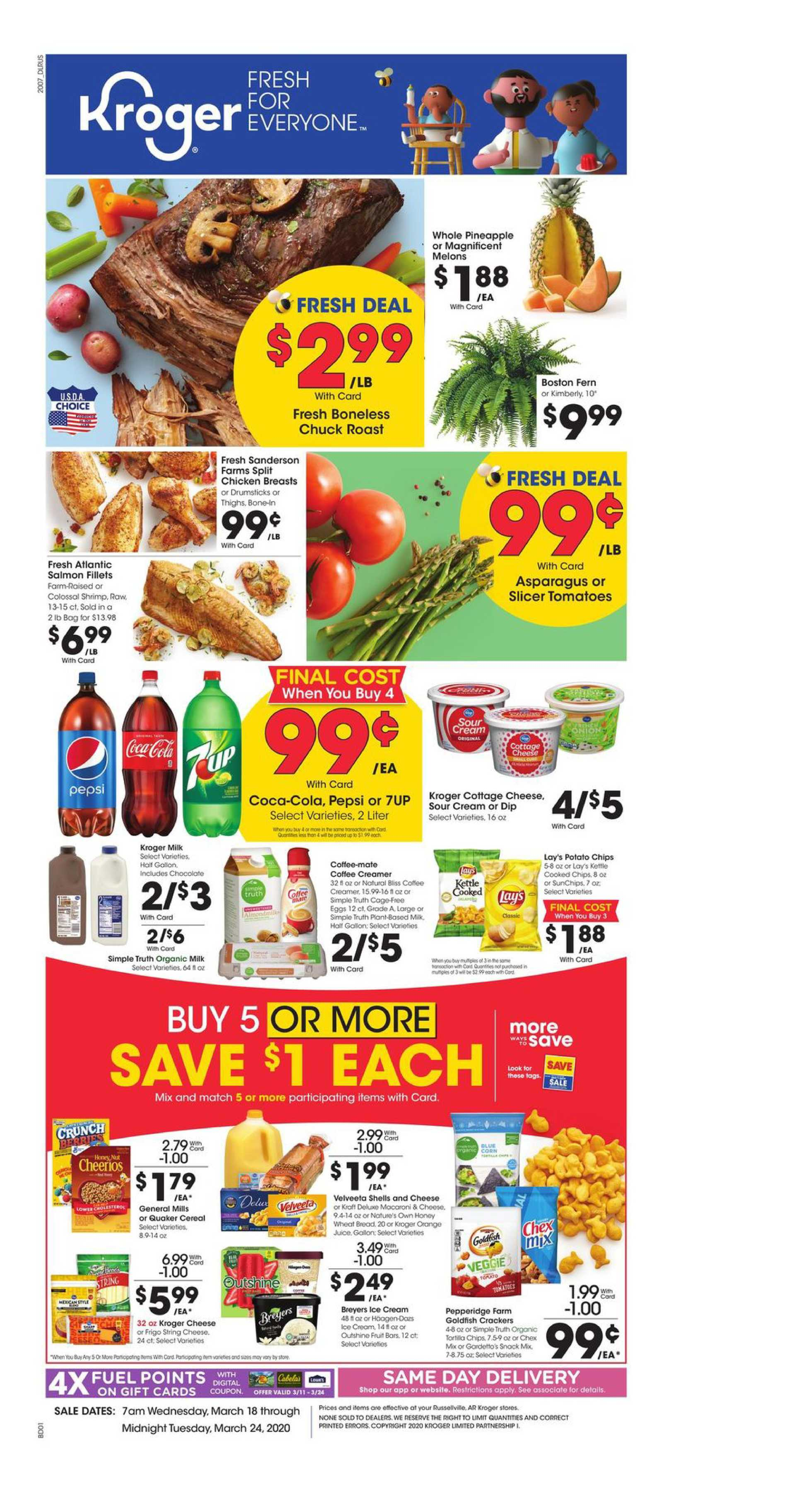Kroger - deals are valid from 03/18/20 to 03/24/20 - page 1.