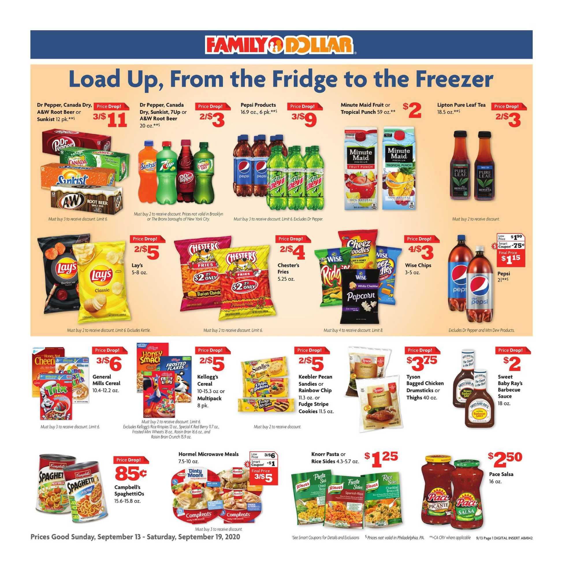 Family Dollar - deals are valid from 09/13/20 to 09/19/20 - page 1.