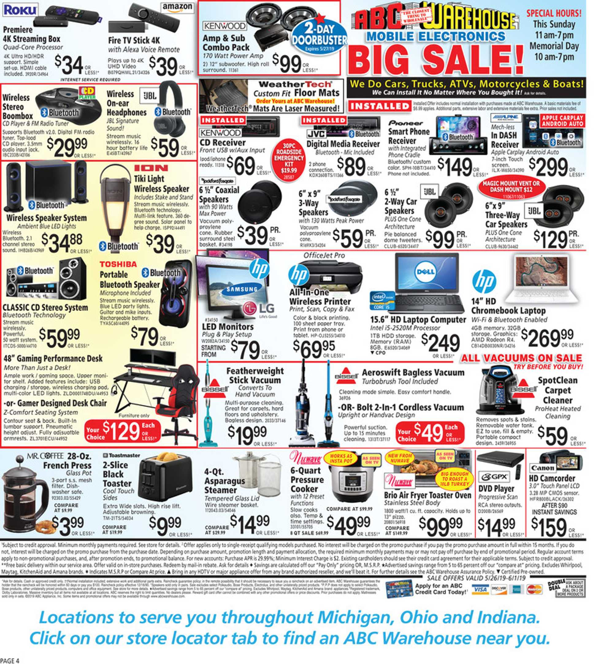 ABC Warehouse - deals are valid from 05/26/19 to 06/01/19 - page 4.