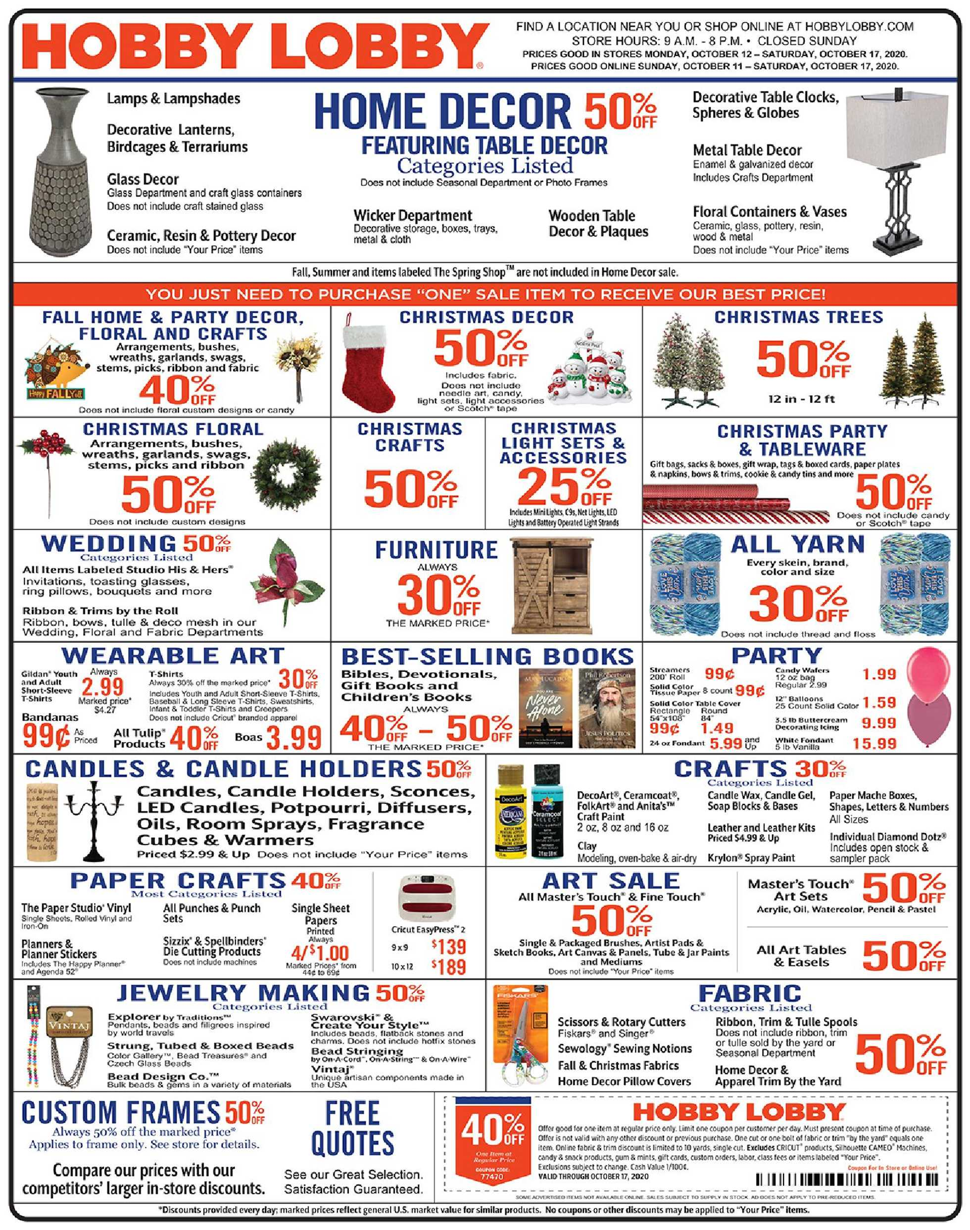 Hobby Lobby - deals are valid from 10/11/20 to 10/17/20 - page 1.