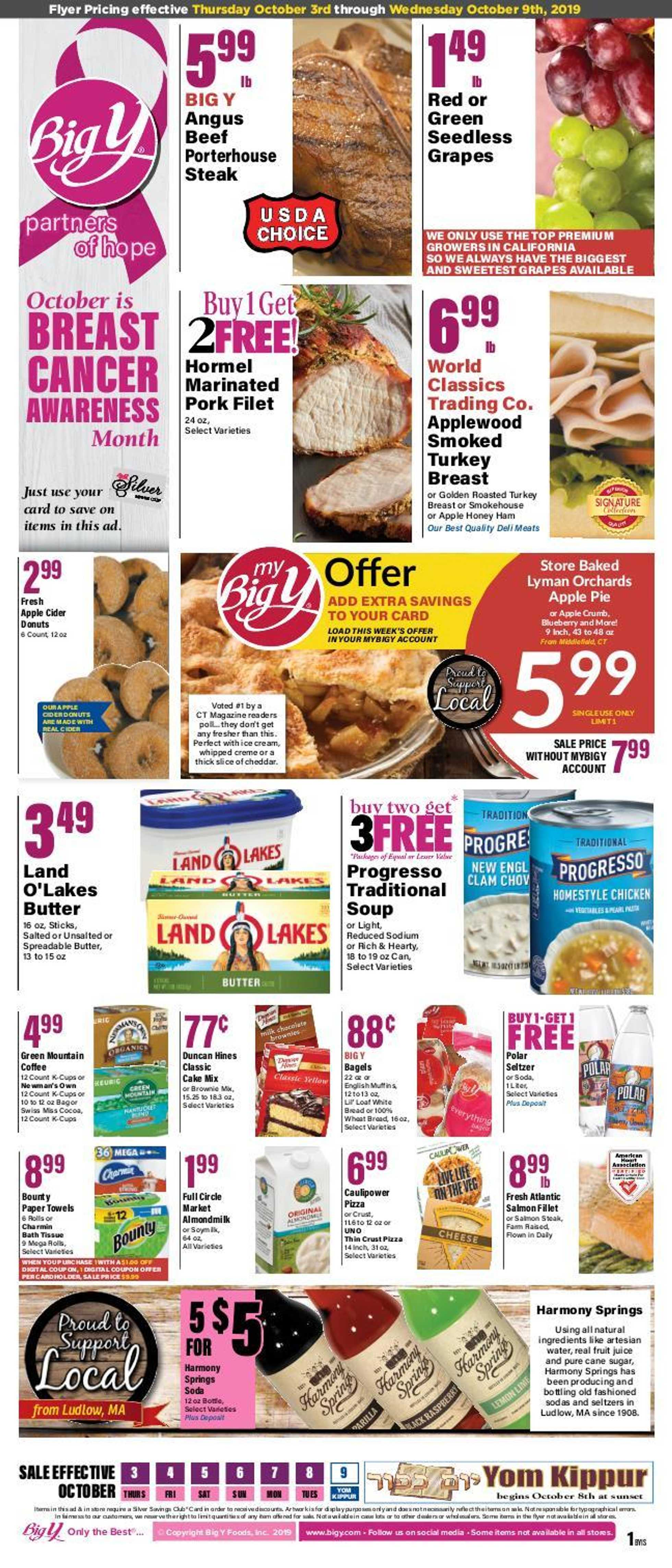 Big Y - deals are valid from 10/03/19 to 10/09/19 - page 1.