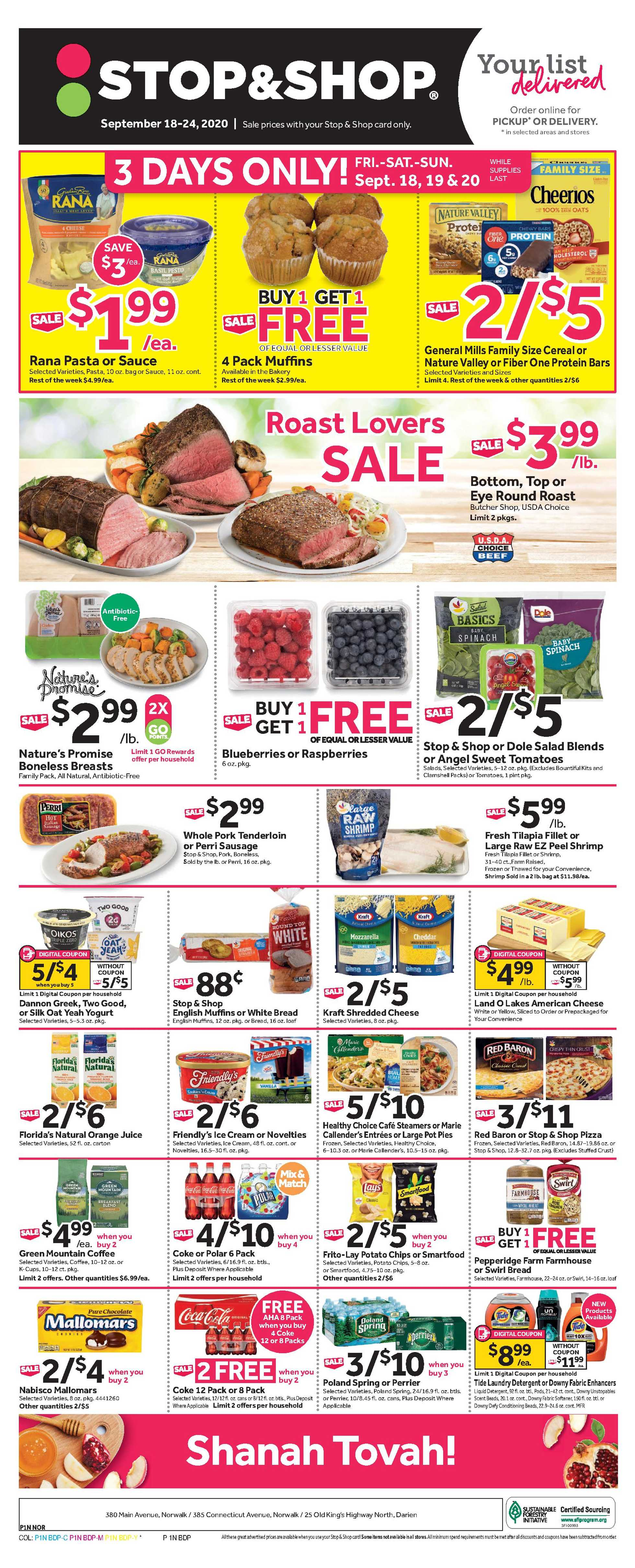 Stop & Shop - deals are valid from 09/18/20 to 09/24/20 - page 1.