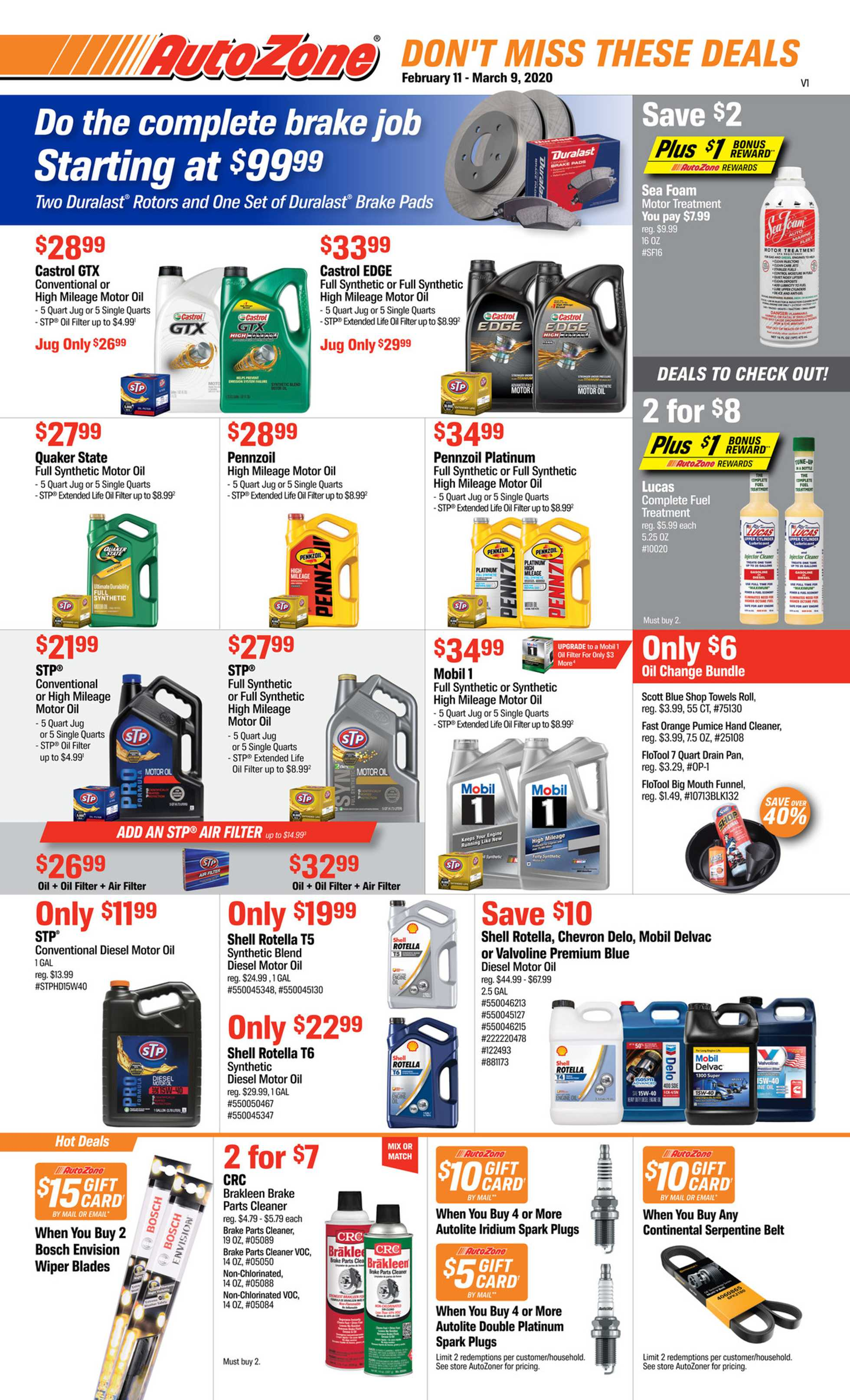 AutoZone - deals are valid from 02/11/20 to 03/09/20 - page 1.