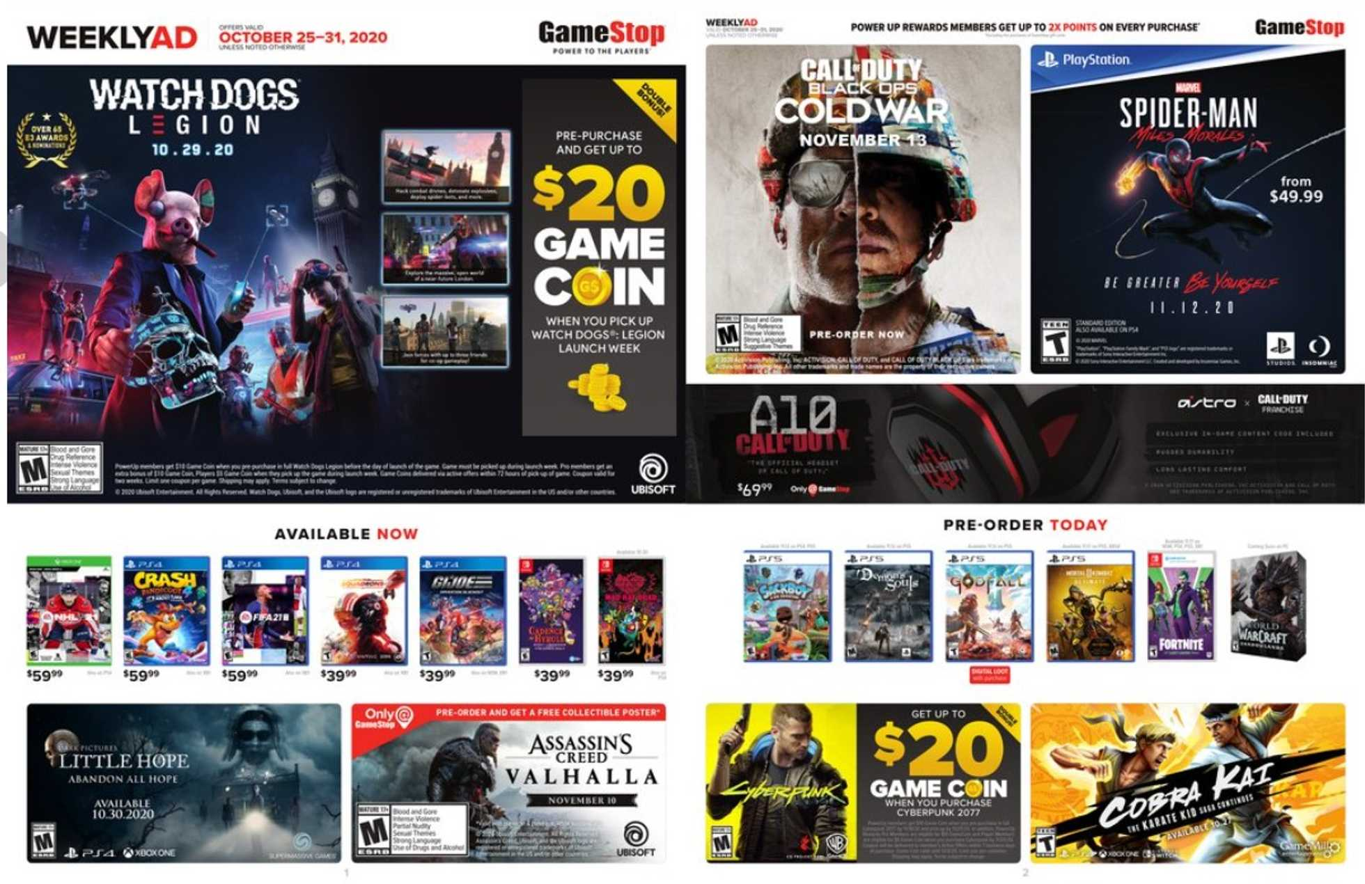 GameStop - deals are valid from 10/25/20 to 10/31/20 - page 1.