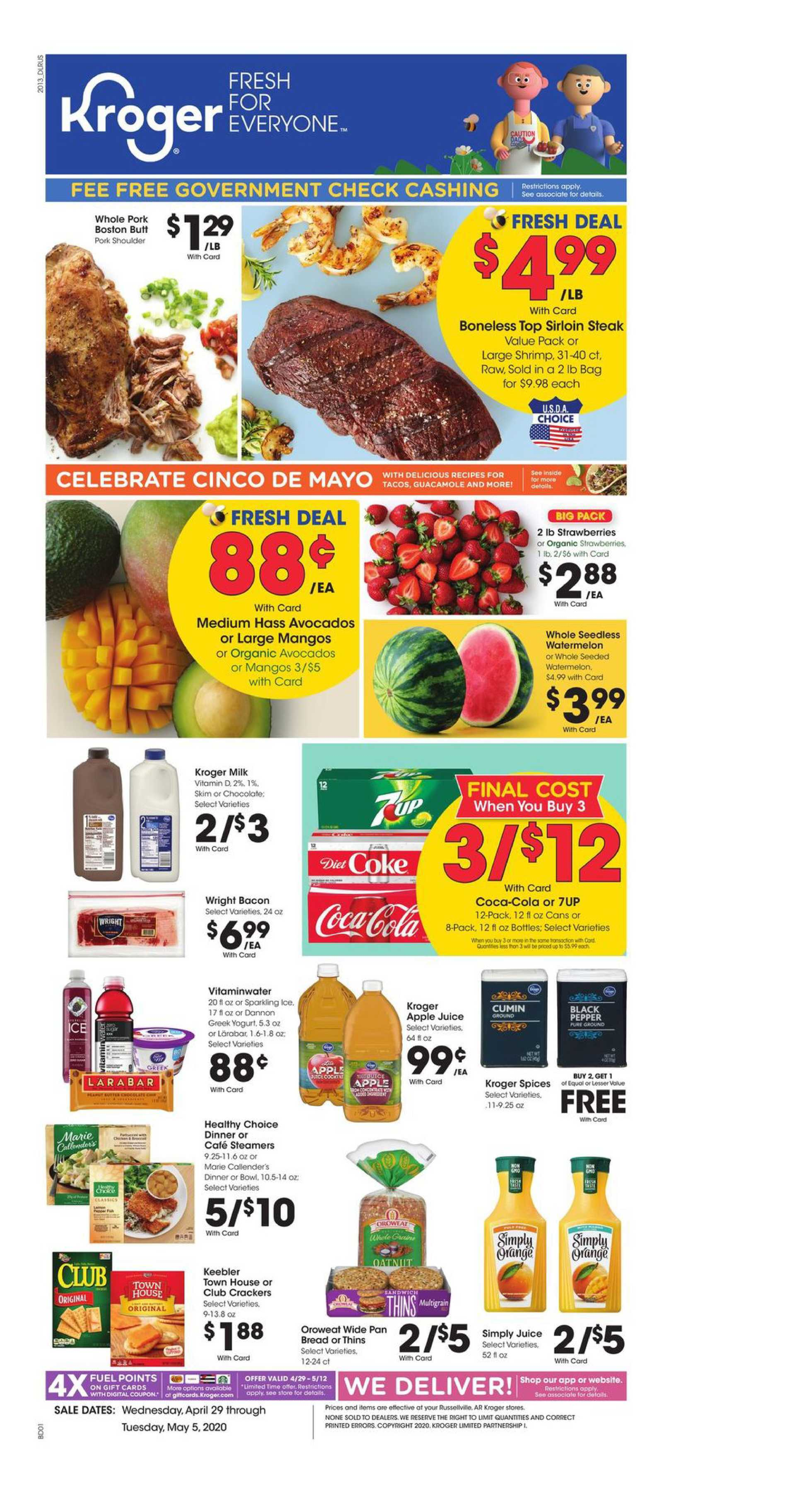 Kroger - deals are valid from 04/29/20 to 05/05/20 - page 1.