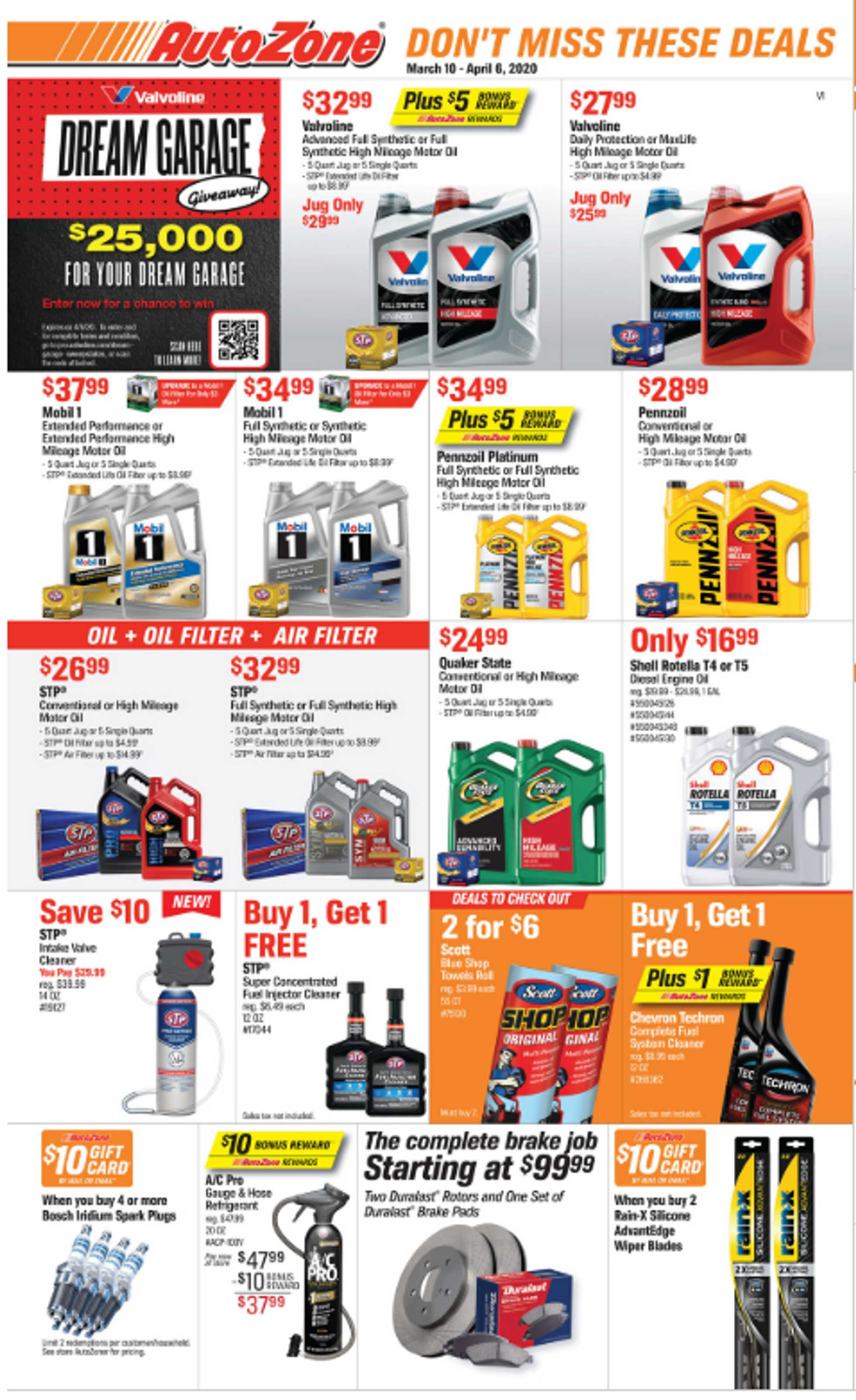 AutoZone - deals are valid from 03/10/20 to 04/06/20 - page 1.