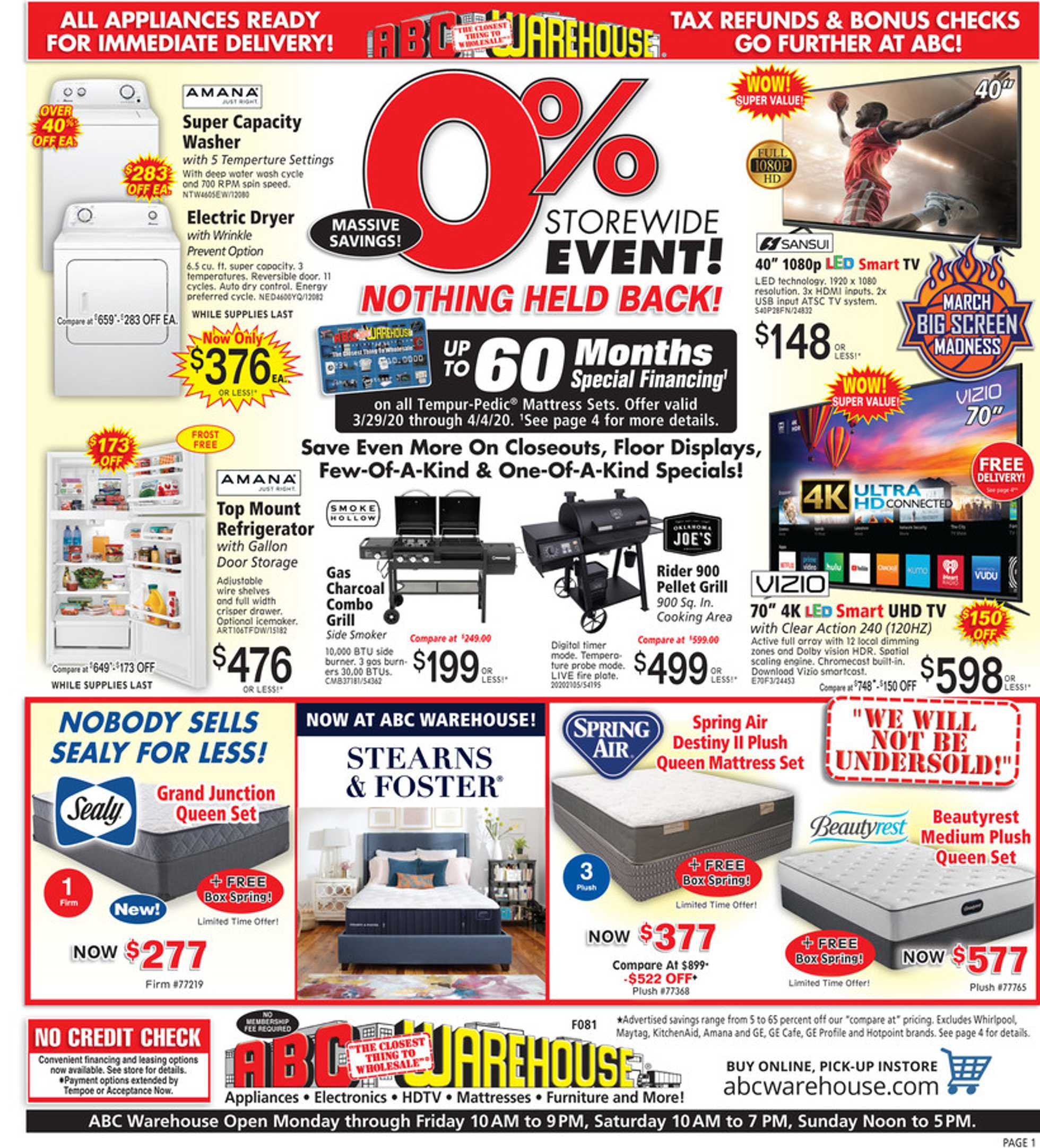 ABC Warehouse - deals are valid from 03/29/20 to 04/04/20 - page 1.