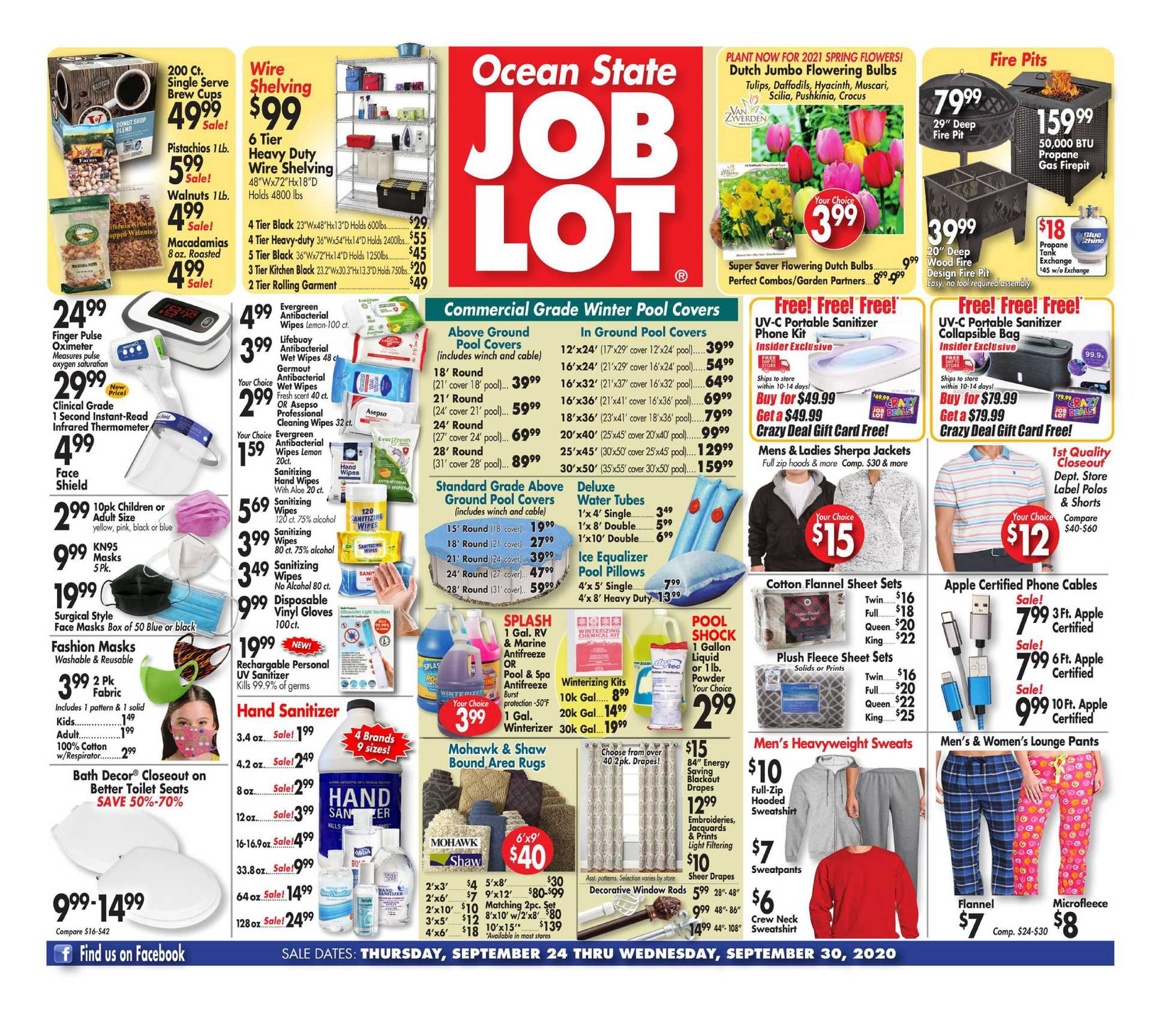 Ocean State Job Lot - deals are valid from 09/24/20 to 09/30/20 - page 1.