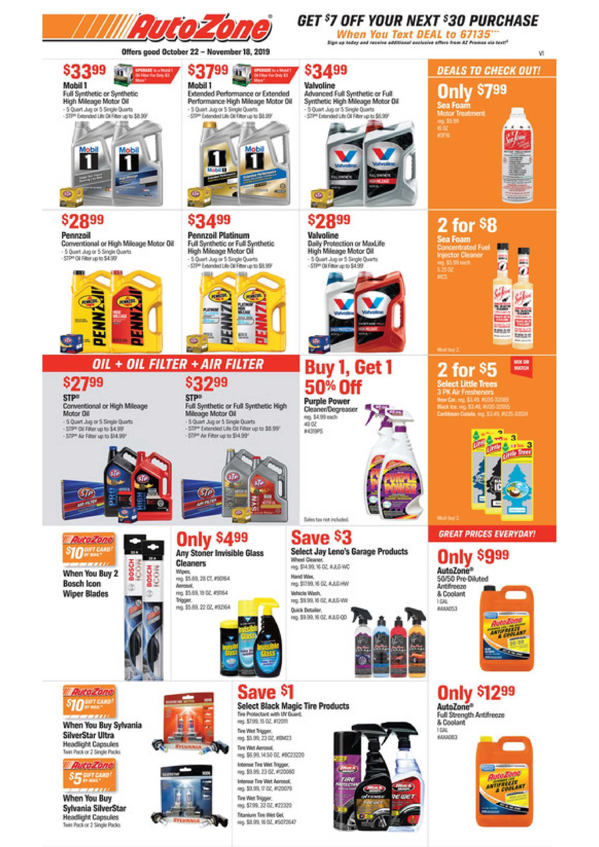 AutoZone - deals are valid from 10/22/19 to 11/18/19 - page 1.
