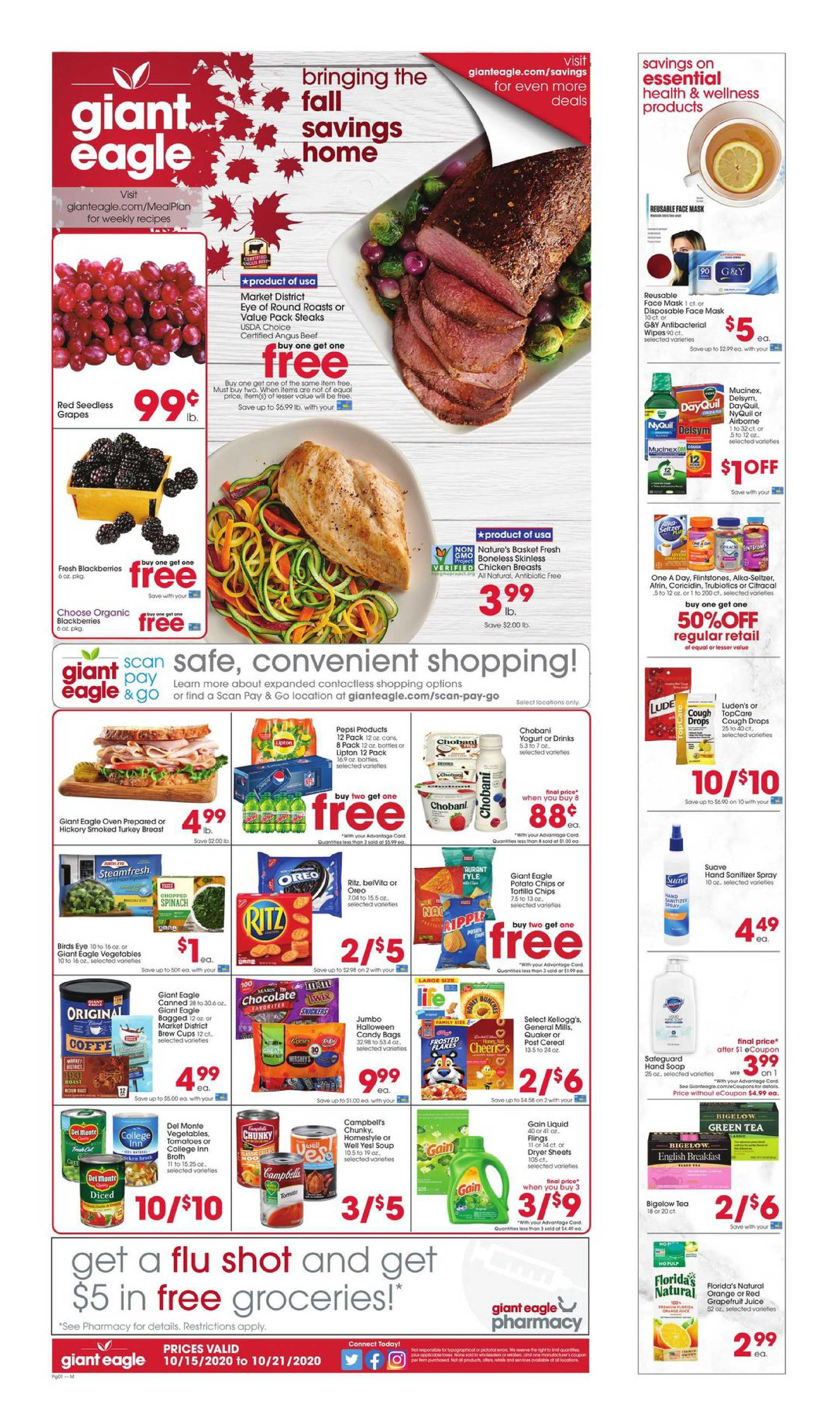 Giant Eagle - deals are valid from 10/15/20 to 10/21/20 - page 1.