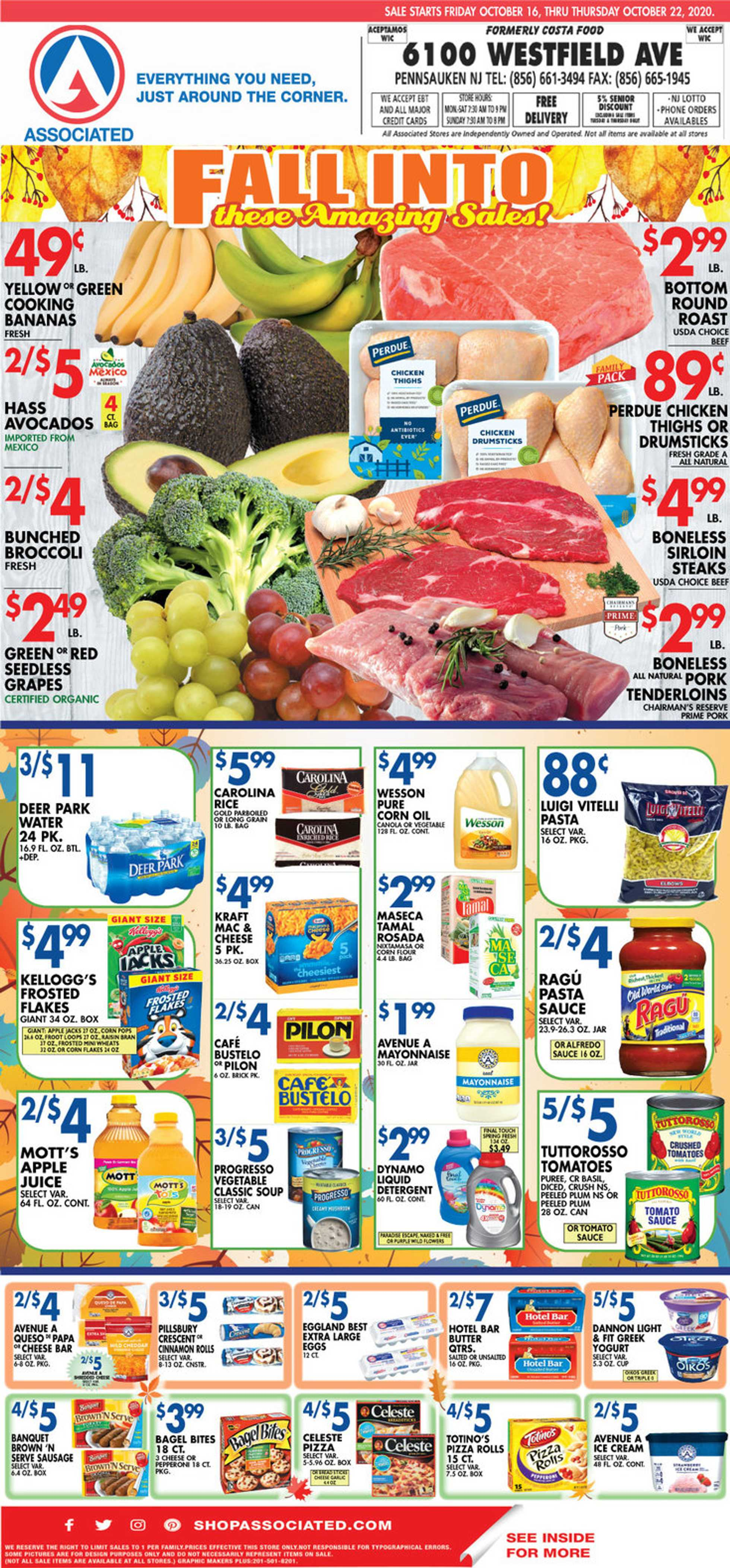 Associated Supermarkets - deals are valid from 10/16/20 to 10/22/20 - page 1.