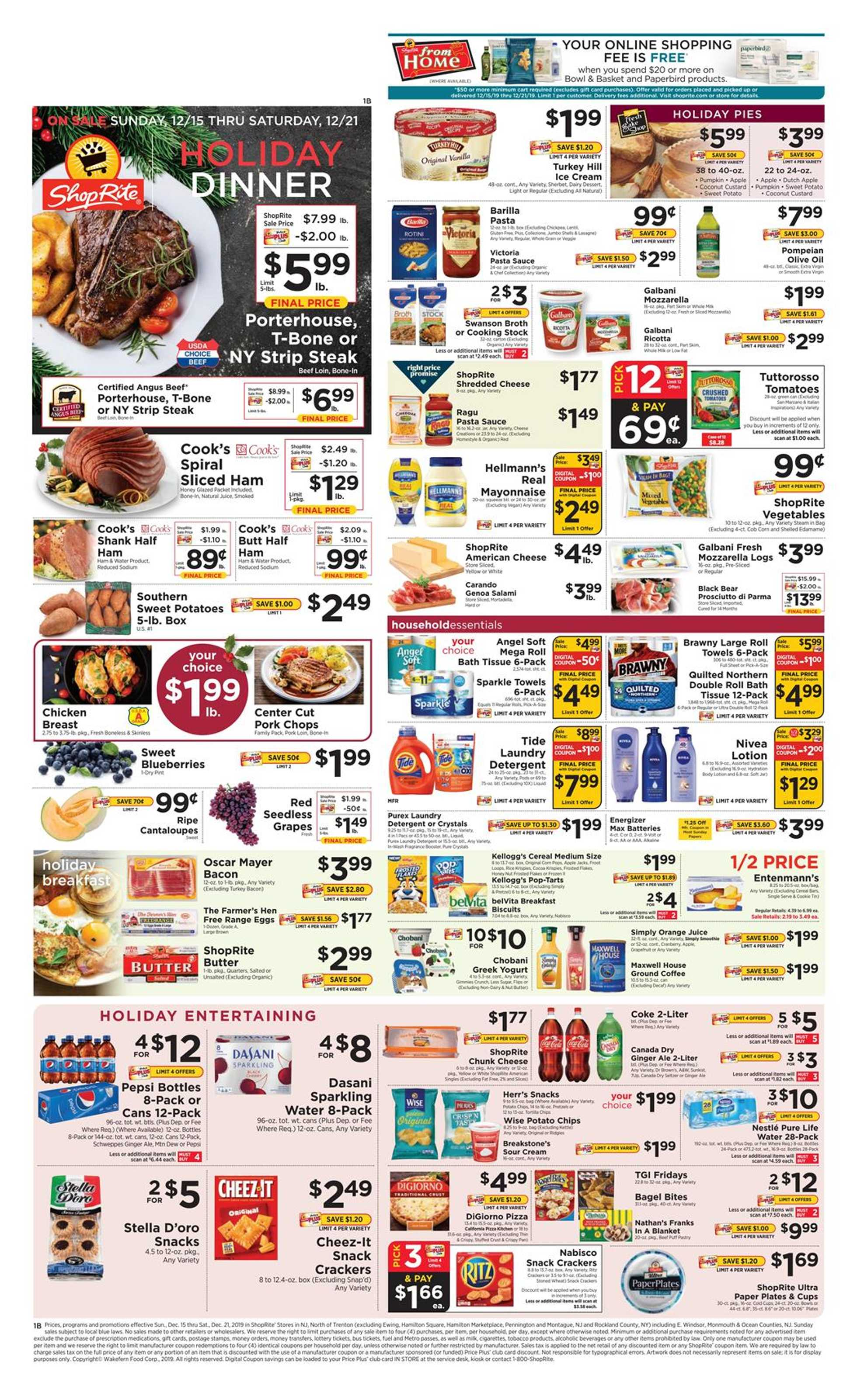 ShopRite - deals are valid from 12/15/19 to 12/21/19 - page 1.