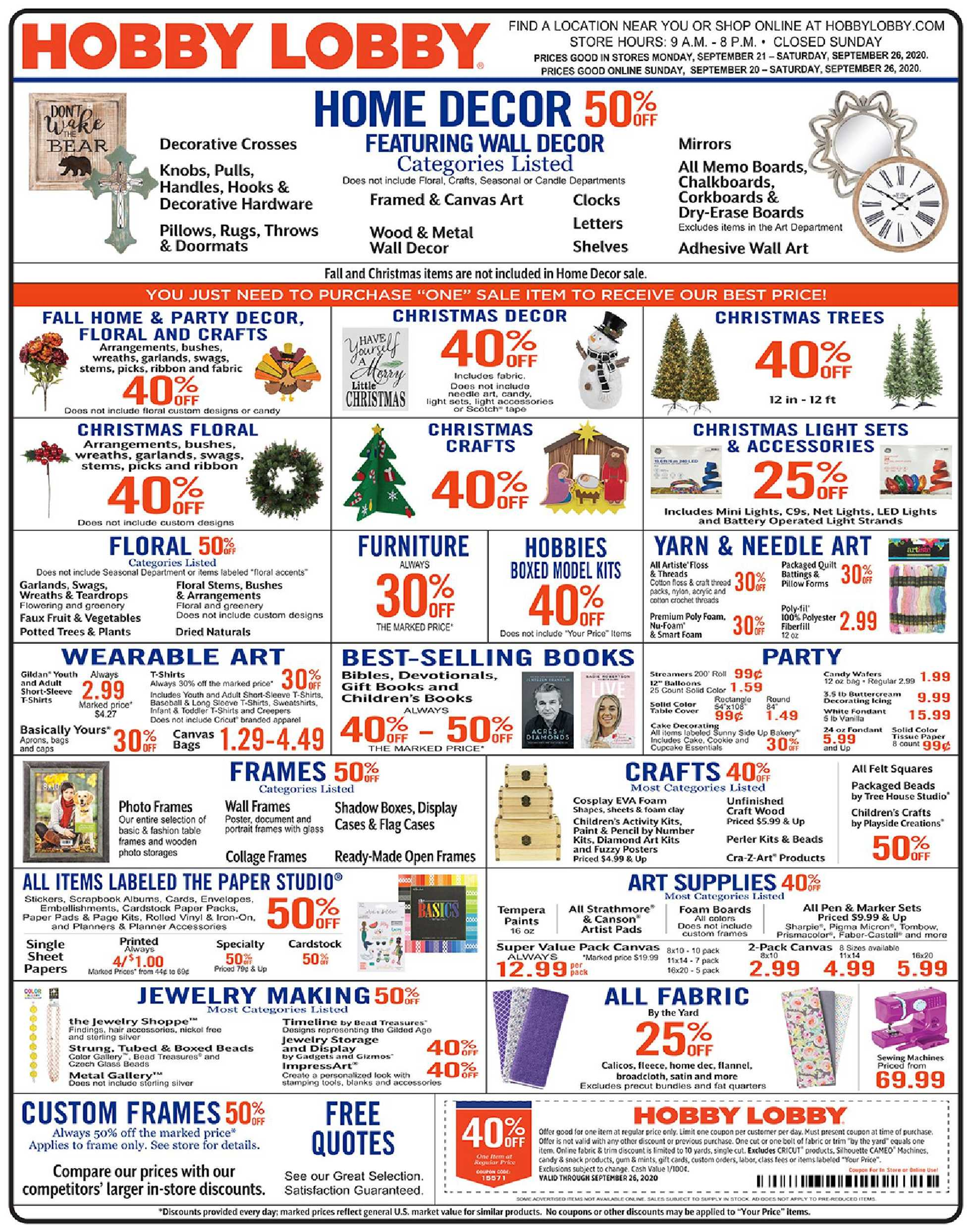 Hobby Lobby - deals are valid from 09/20/20 to 09/26/20 - page 1.