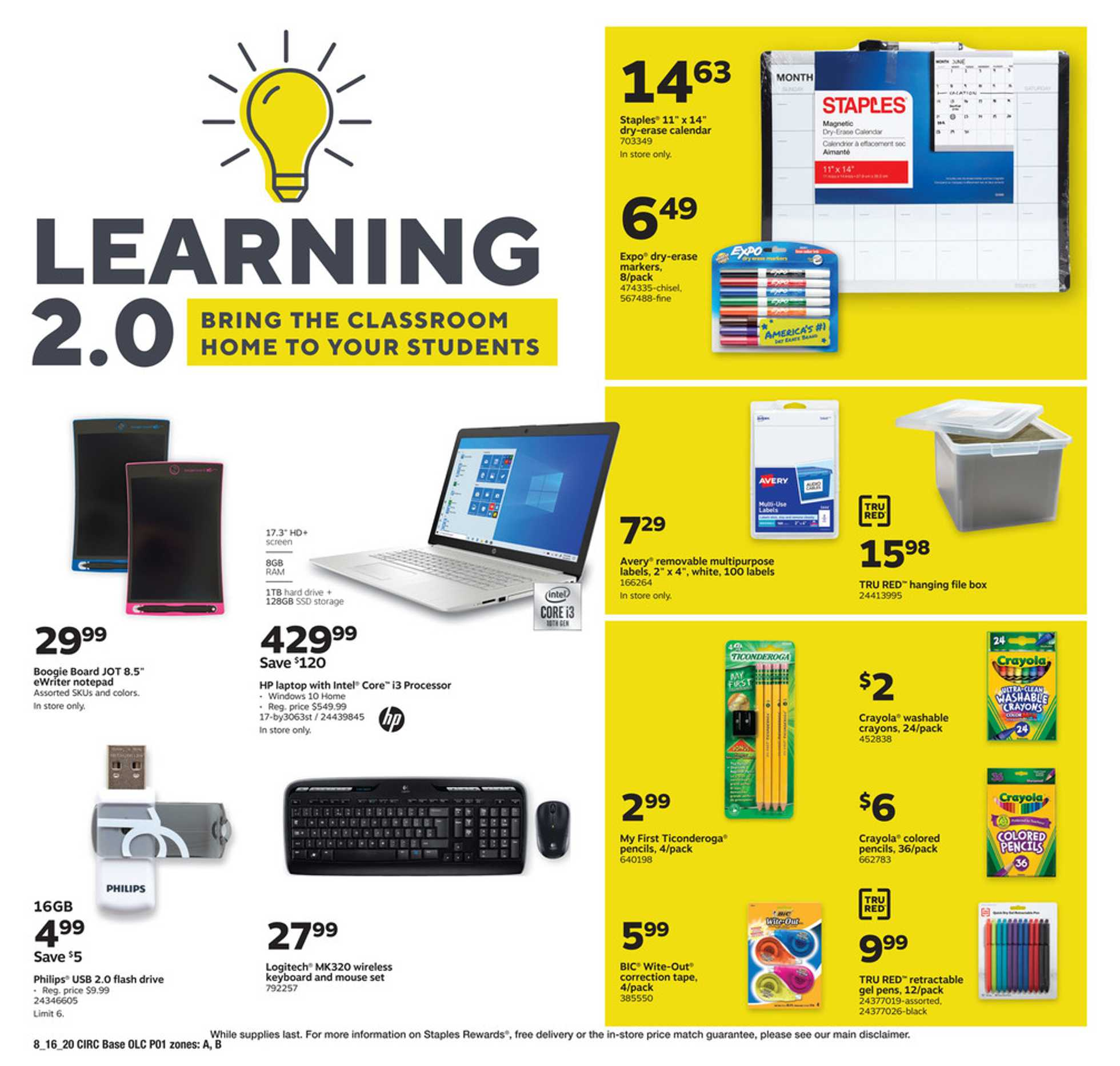 Staples - deals are valid from 08/16/20 to 08/22/20 - page 1.