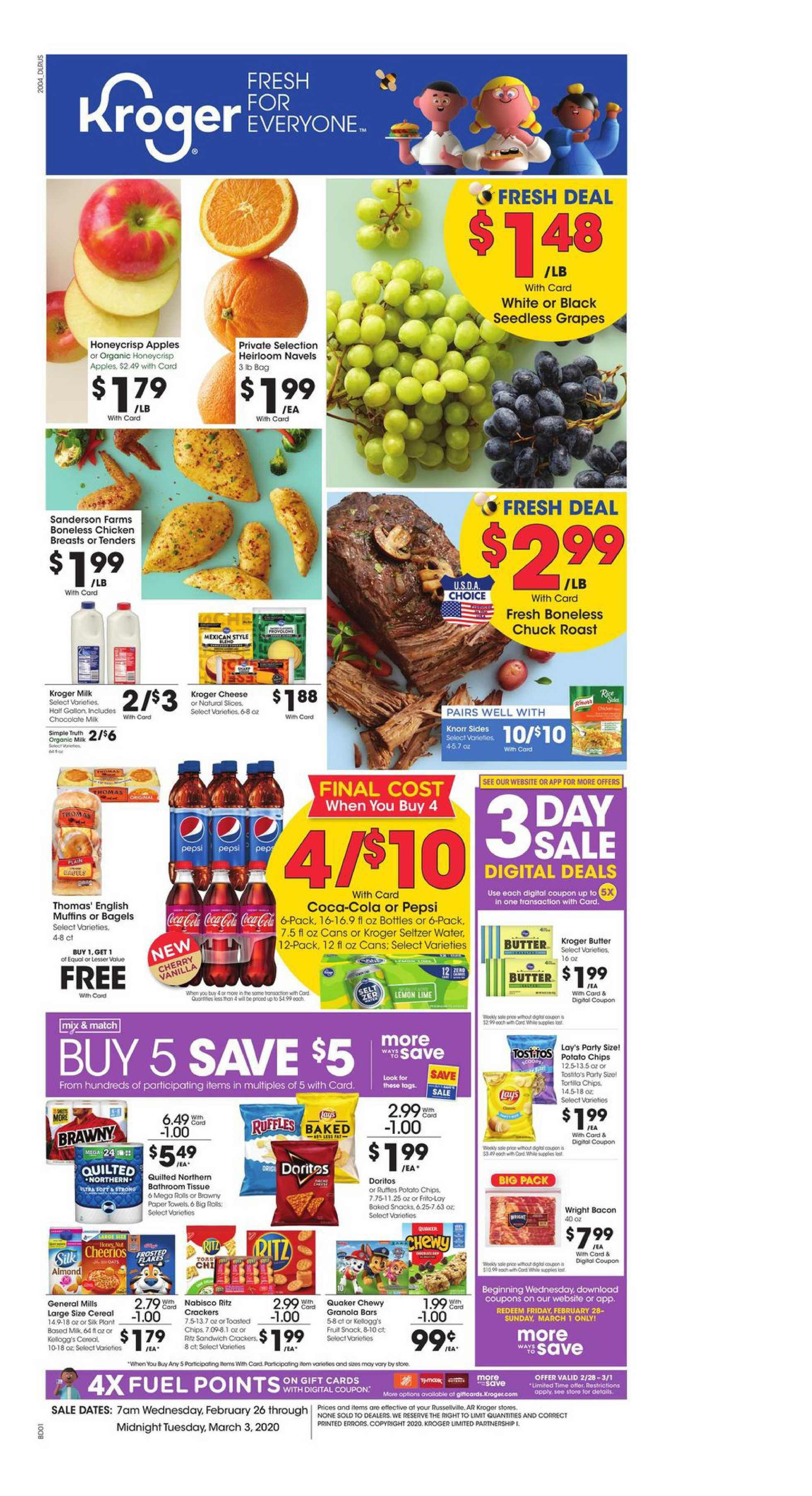 Kroger - deals are valid from 02/26/20 to 03/03/20 - page 1.