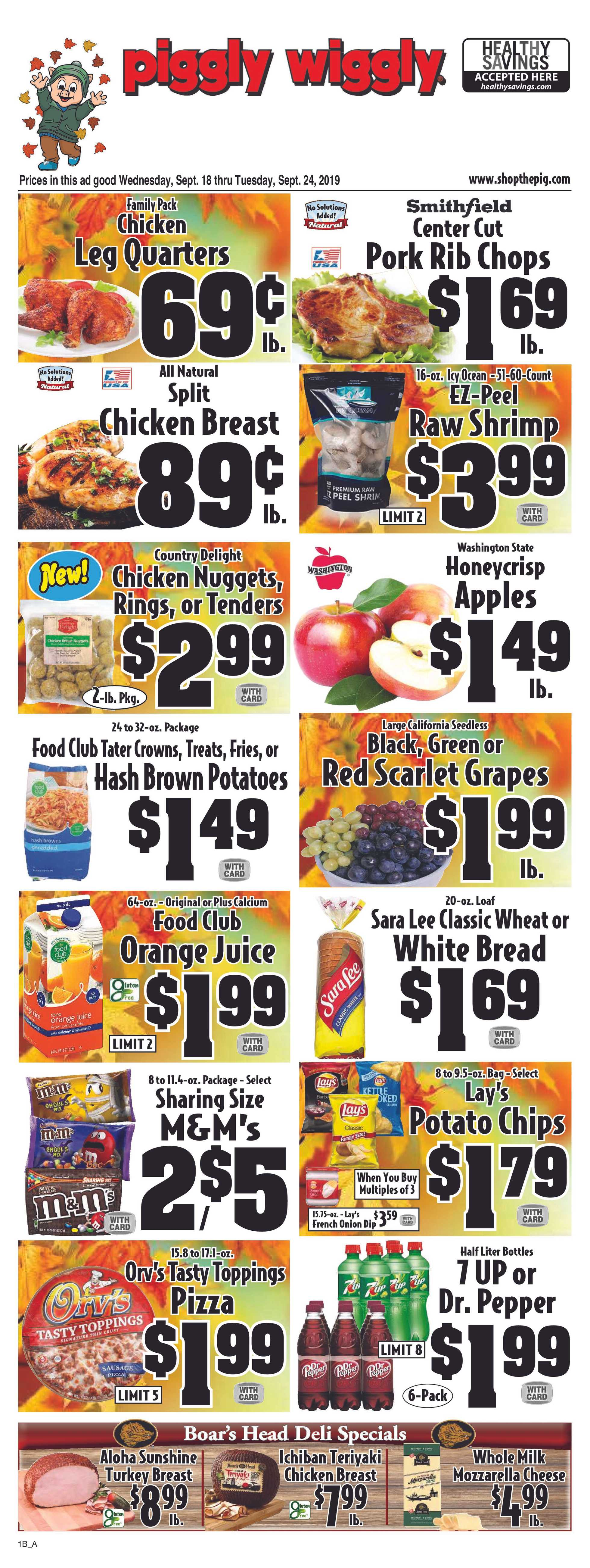 Piggly Wiggly - deals are valid from 09/18/19 to 09/24/19 - page 1.