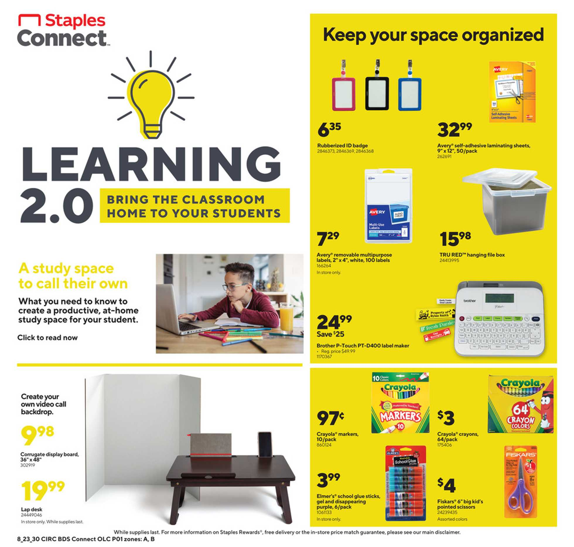Staples - deals are valid from 08/23/20 to 08/29/20 - page 1.