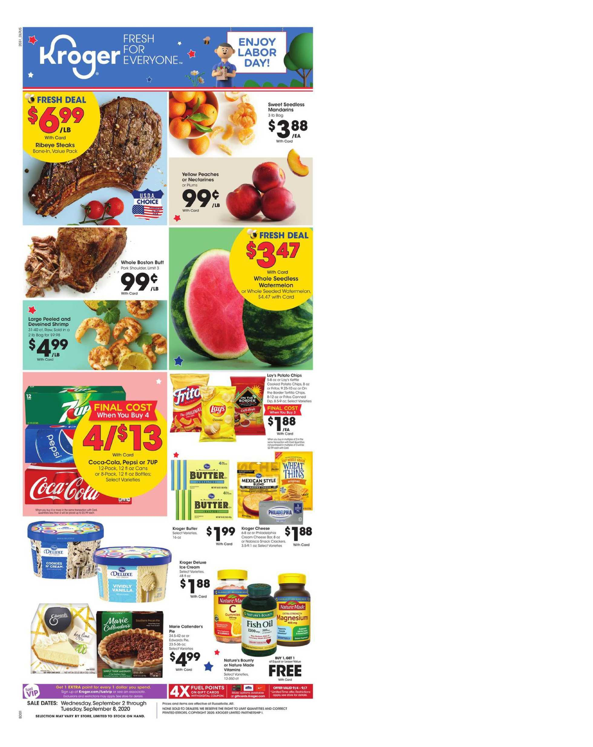 Kroger - deals are valid from 09/02/20 to 09/08/20 - page 1.