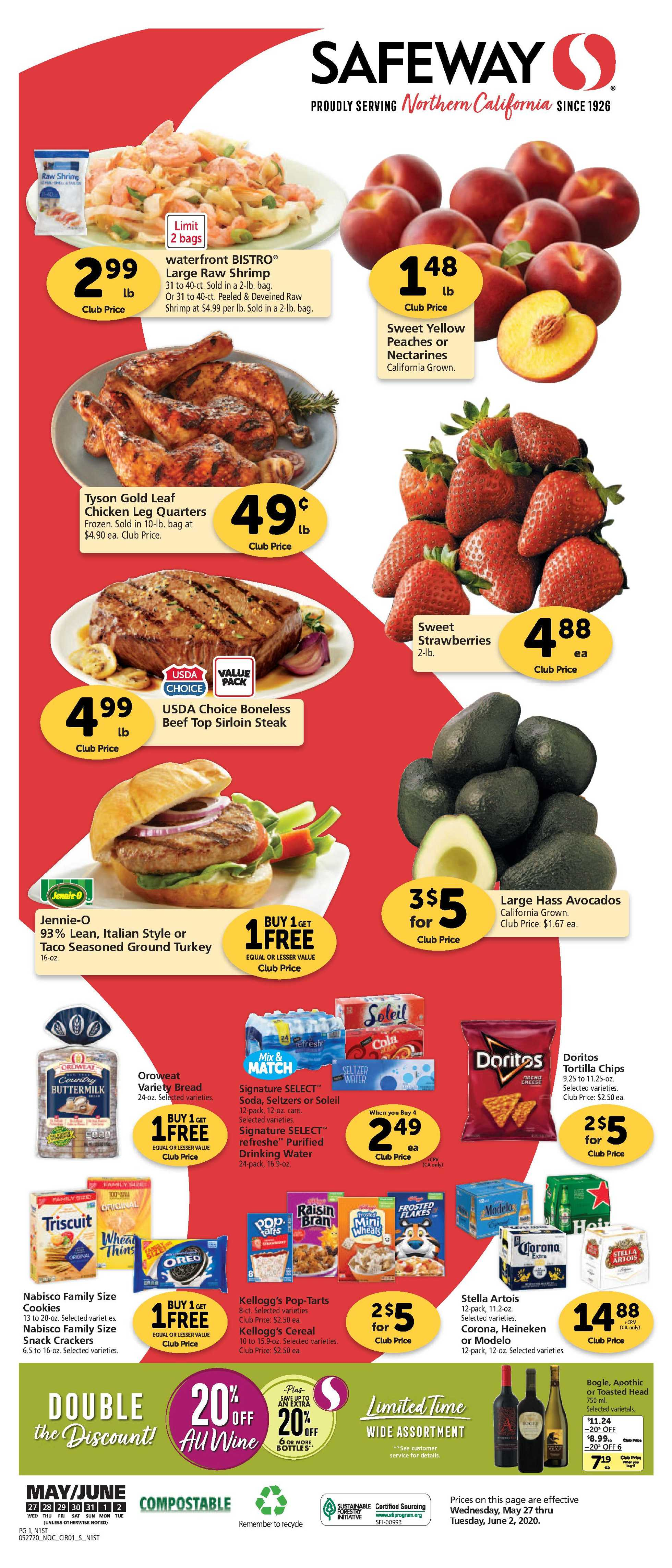 Safeway - deals are valid from 05/27/20 to 06/02/20 - page 1.