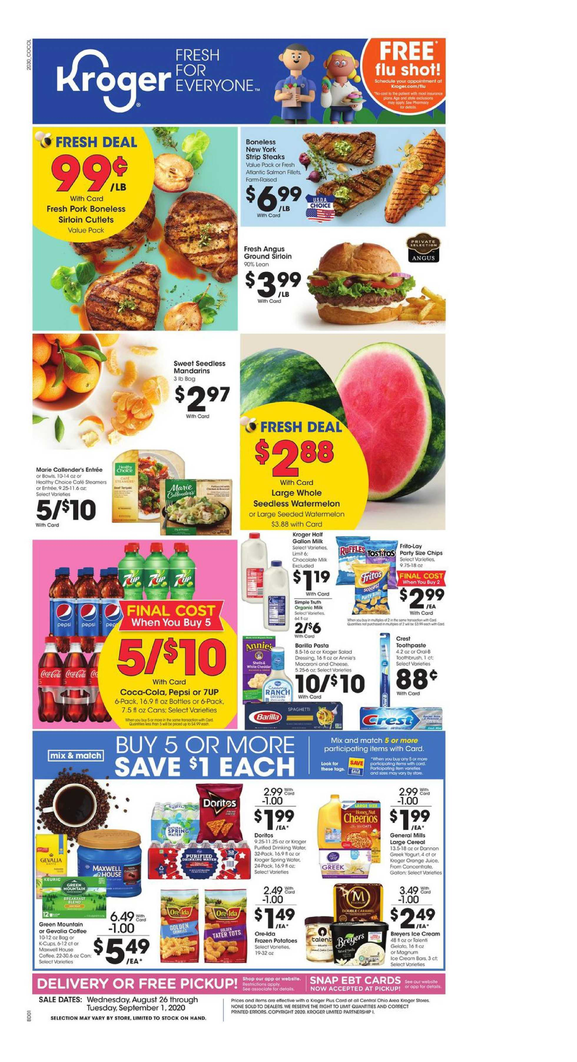Kroger - deals are valid from 08/26/20 to 09/01/20 - page 1.