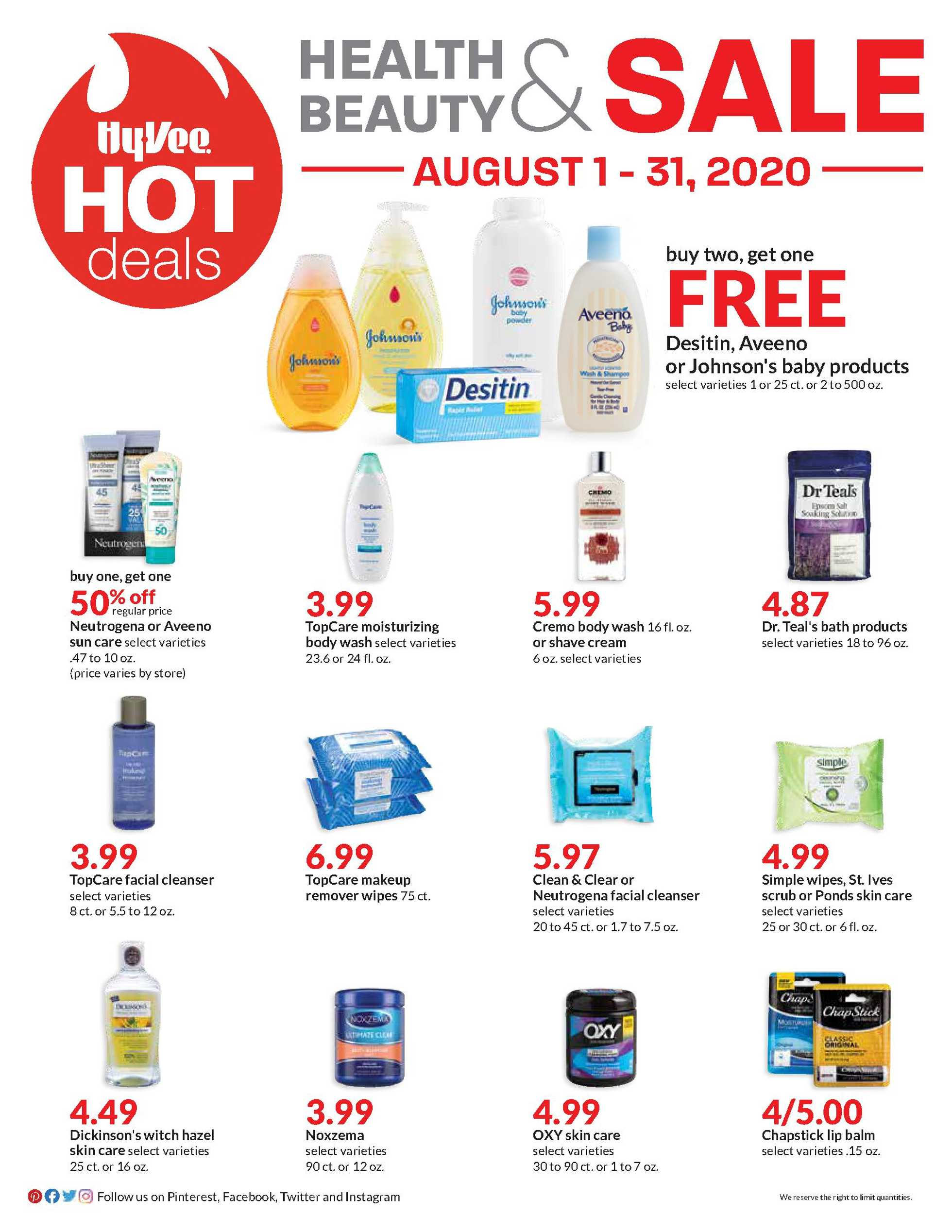 Hy-Vee - deals are valid from 08/01/20 to 08/31/20 - page 1.