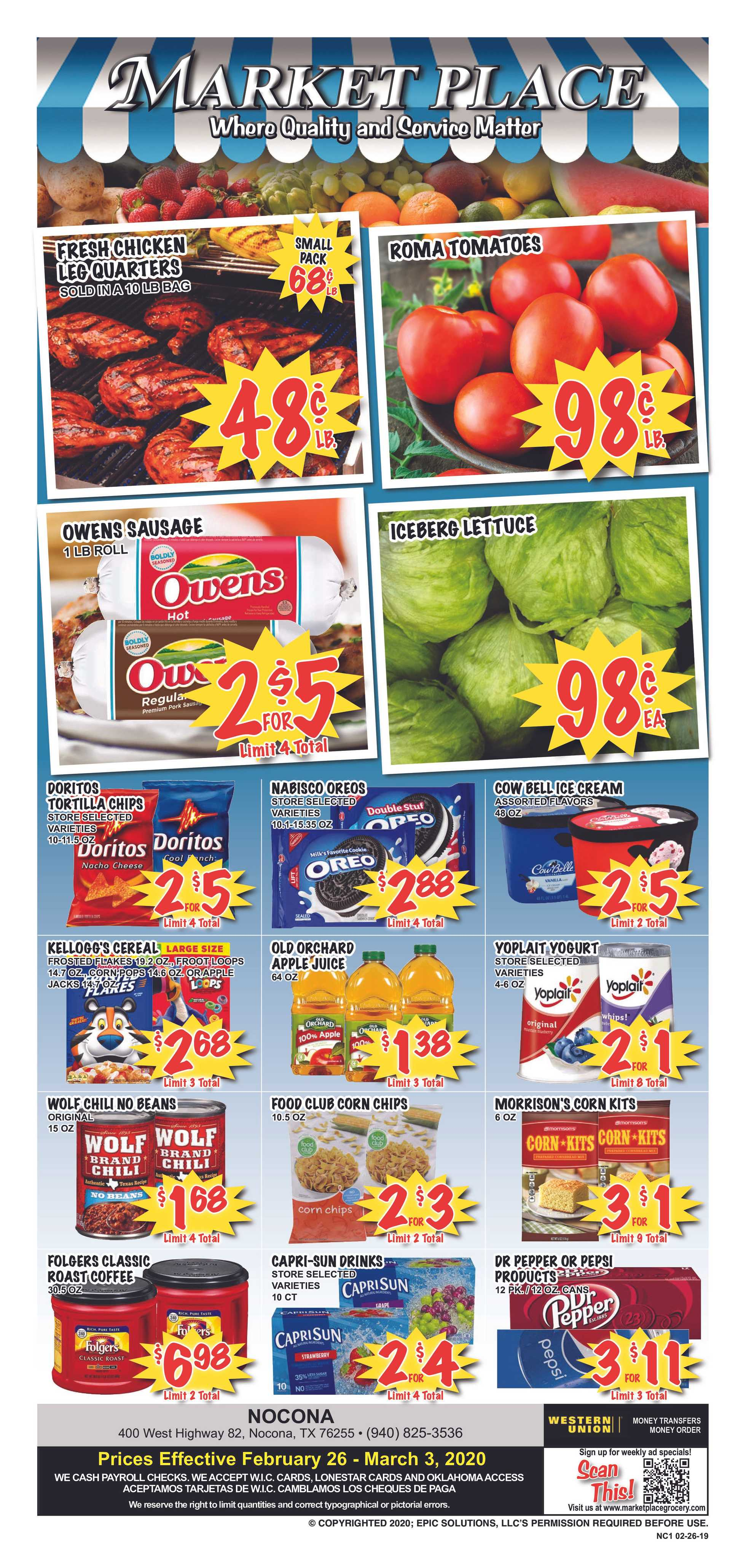 Market Place - deals are valid from 02/26/20 to 03/03/20 - page 1.