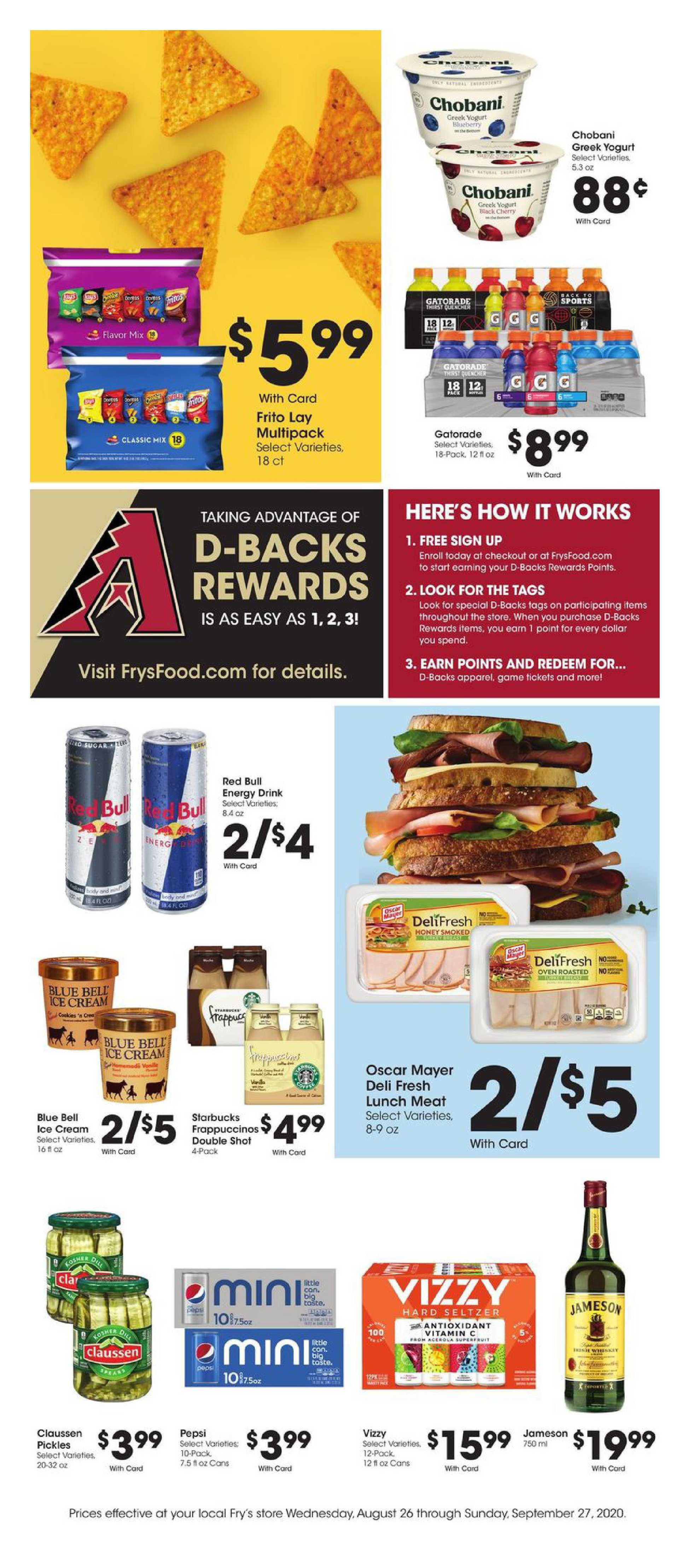 Fry's Food - deals are valid from 08/26/20 to 09/27/20 - page 1.