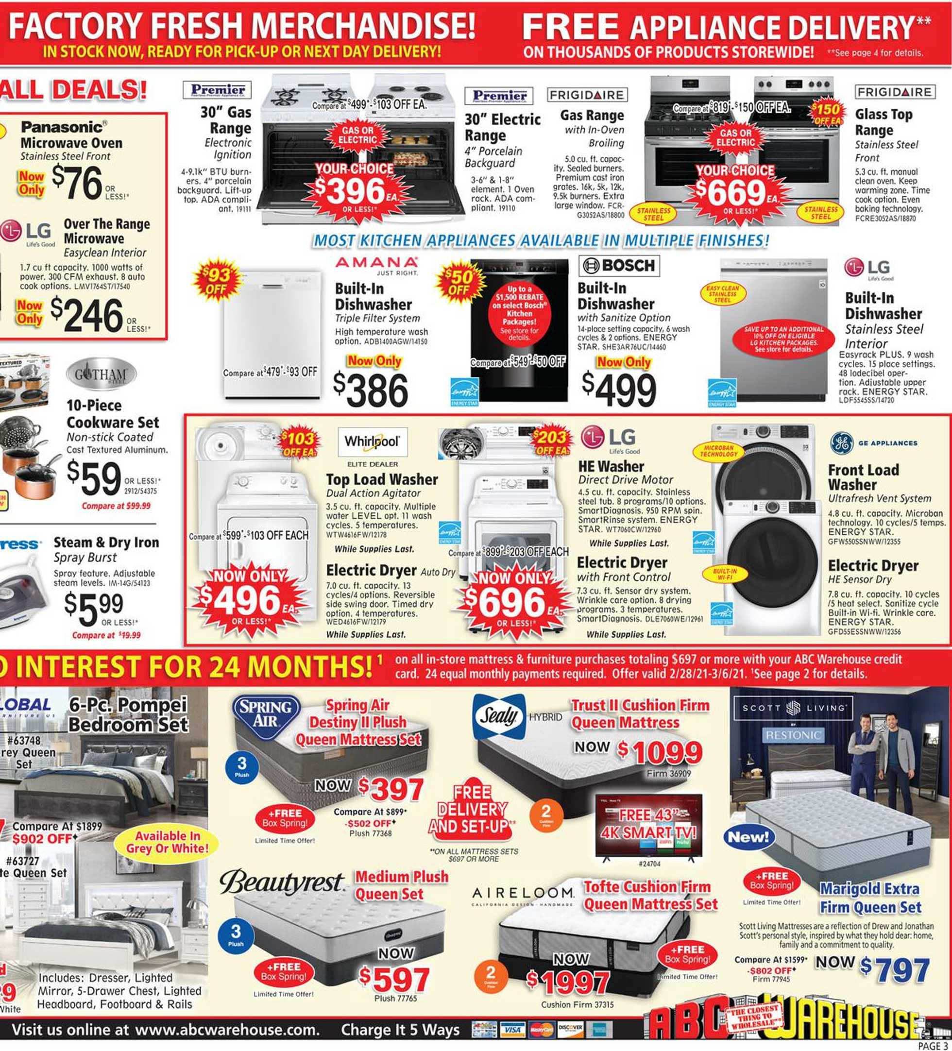 ABC Warehouse - deals are valid from 02/28/21 to 03/06/21 - page 3.
