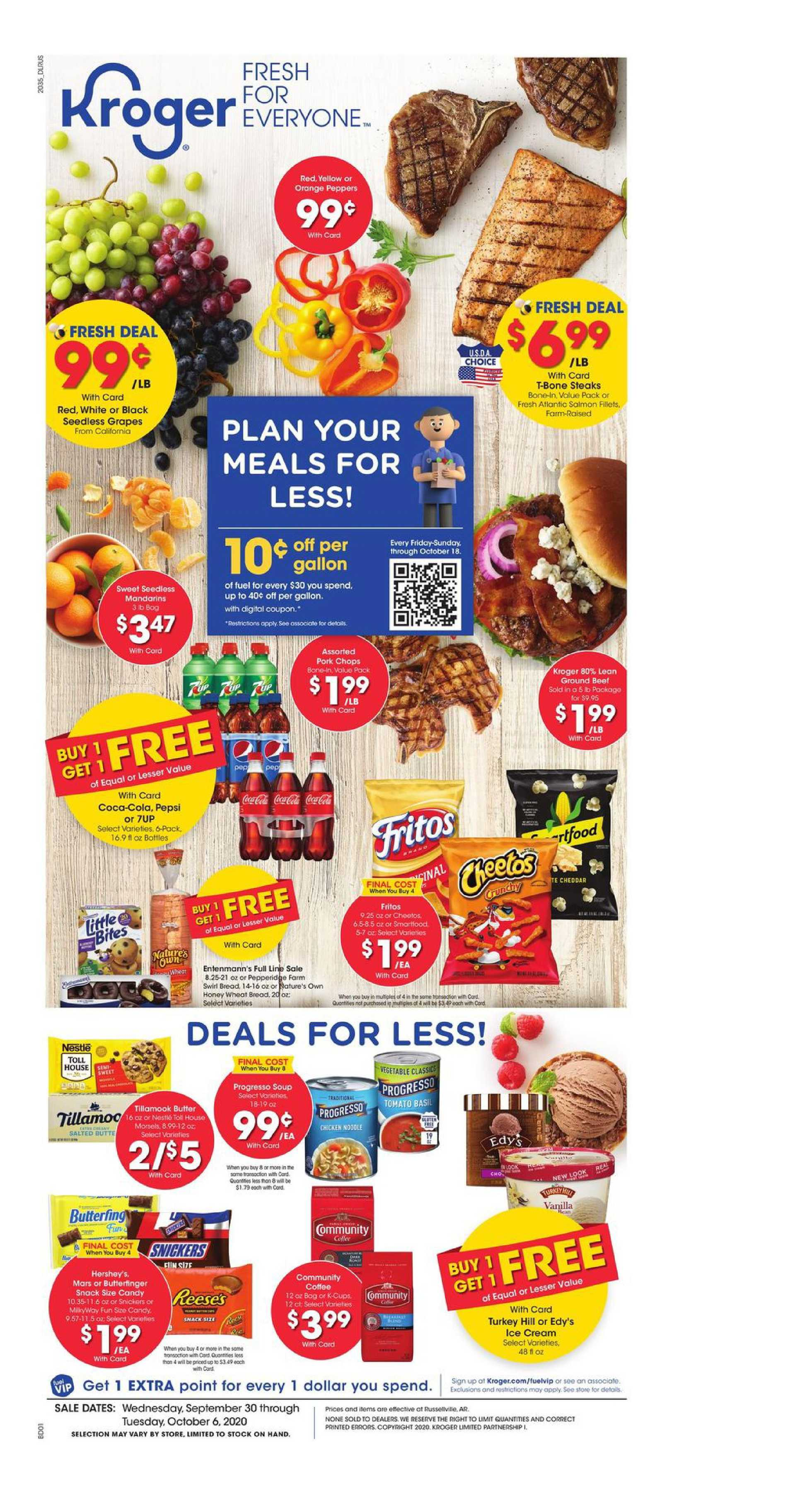 Kroger - deals are valid from 09/30/20 to 10/06/20 - page 1.