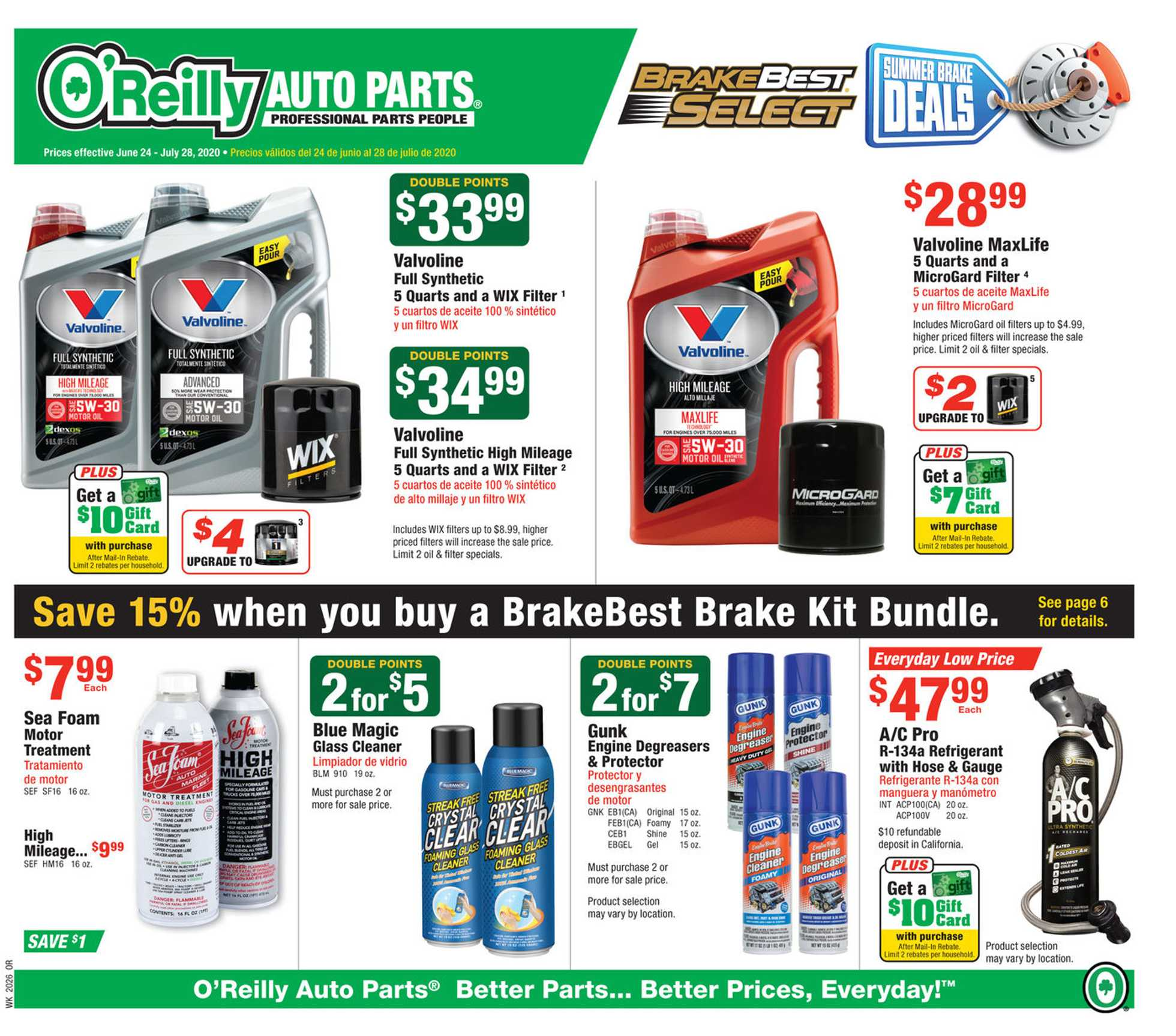 O'reilly - deals are valid from 06/24/20 to 07/28/20 - page 1.